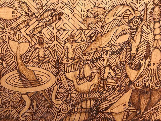 Colin ISSACS 'Whale People' n.d. #nerammuseum #woodburning #aborigionalart