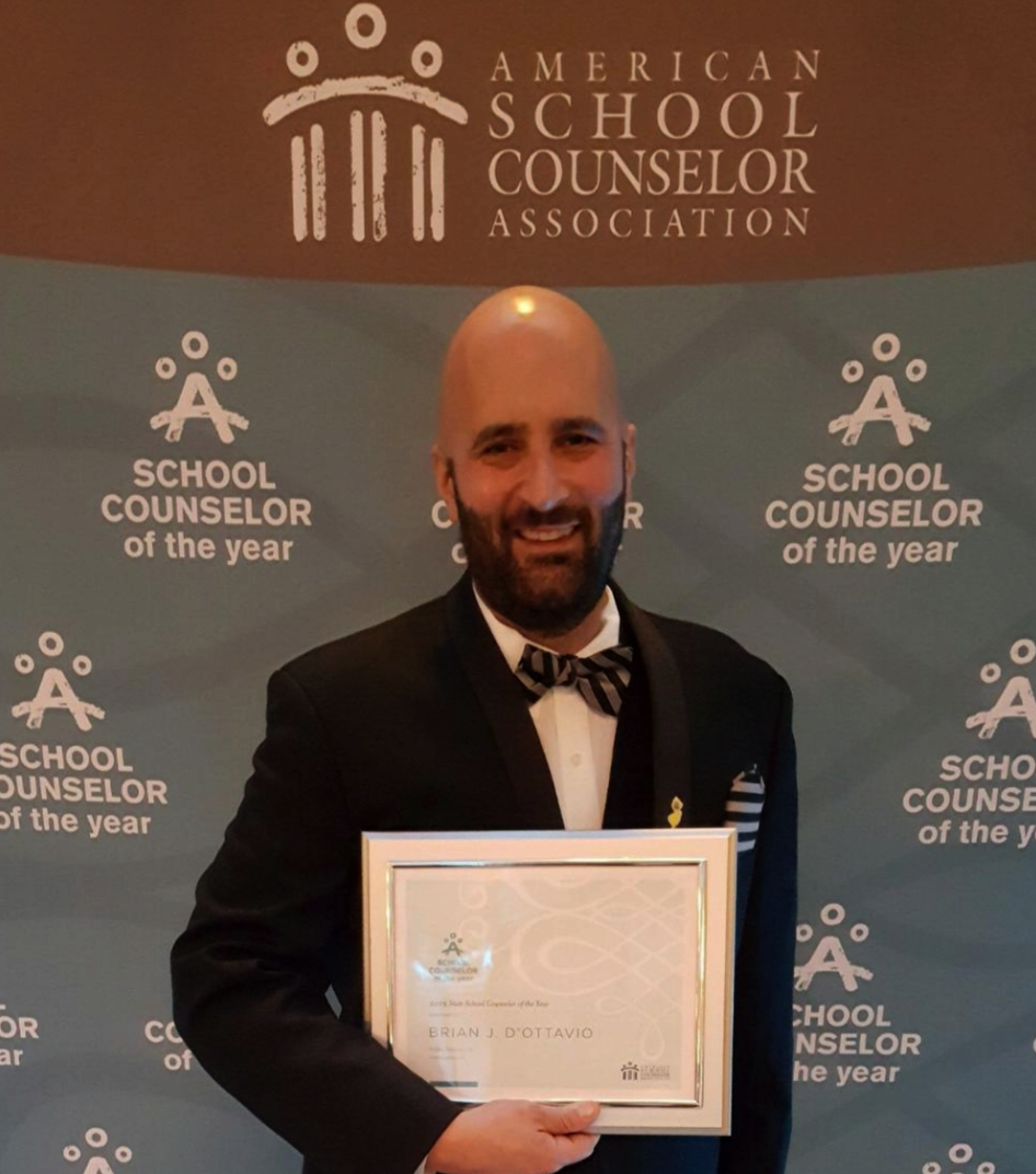 Brian D'Ottavio is the 2018 New Jersey School Counselor of the Year. He attending the American School Counselor Association Awards Ceremony in Washington, D.C. in February 2019.