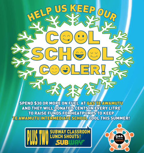 GAS TE AWAMUTU - Supporting Te Awamutu Intermediate. Raising funds for heatpumps to keep their school cool this summer. Promotion has now ended.