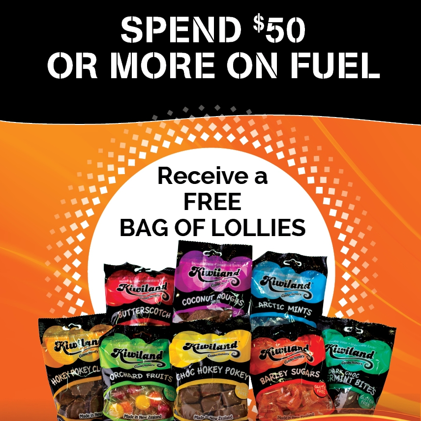GAS Lolly Promotion - A Little sweetener of thanks! Spend $50 or more on fuel, receive a free bag of Kiwiland lollies!
