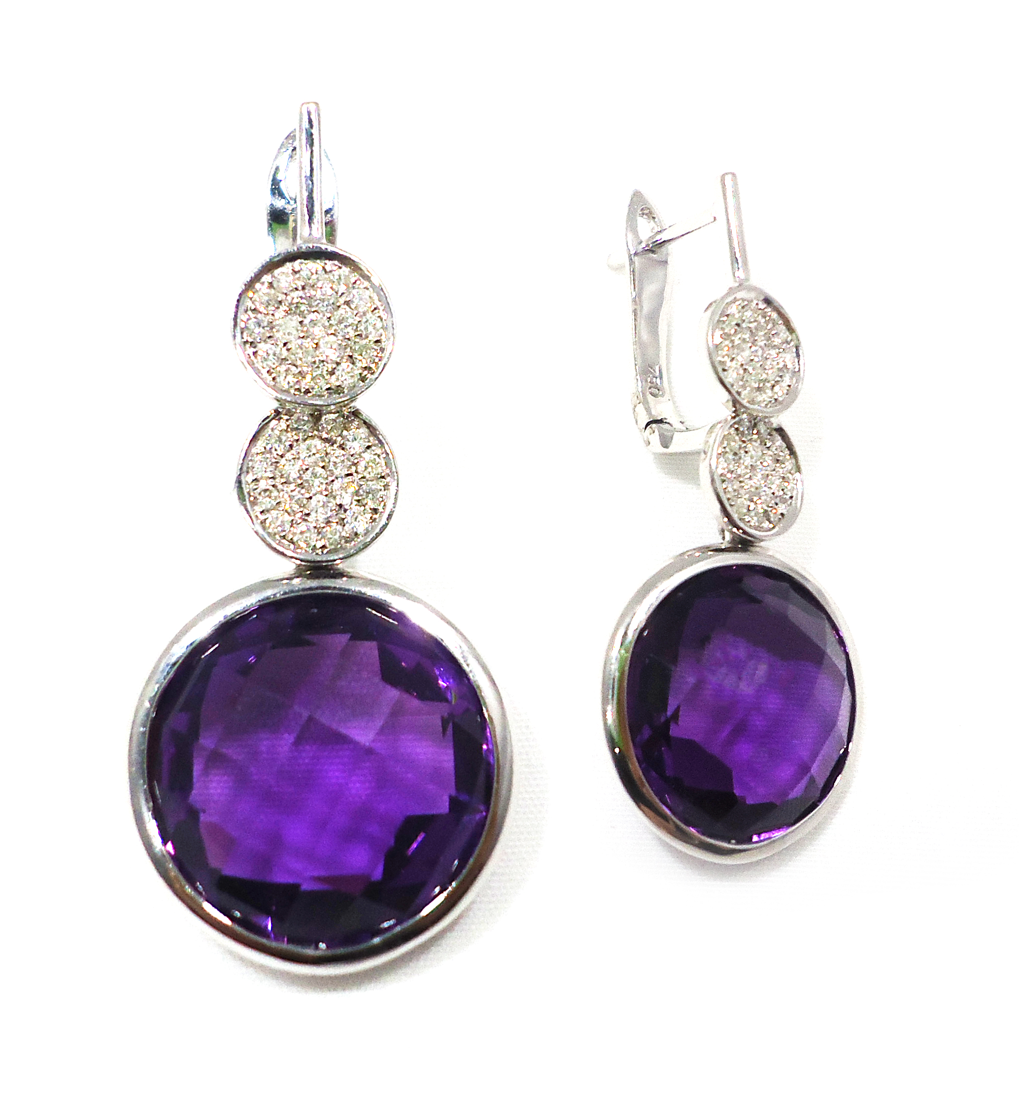Amethyst diamond drop earrings!