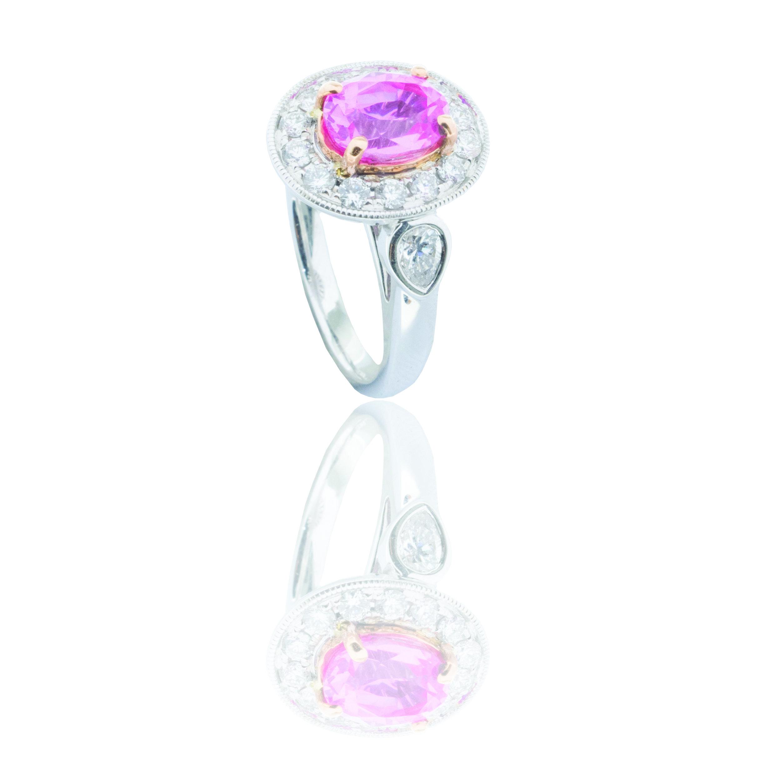Pink sapphire diamond ring! - SOLD