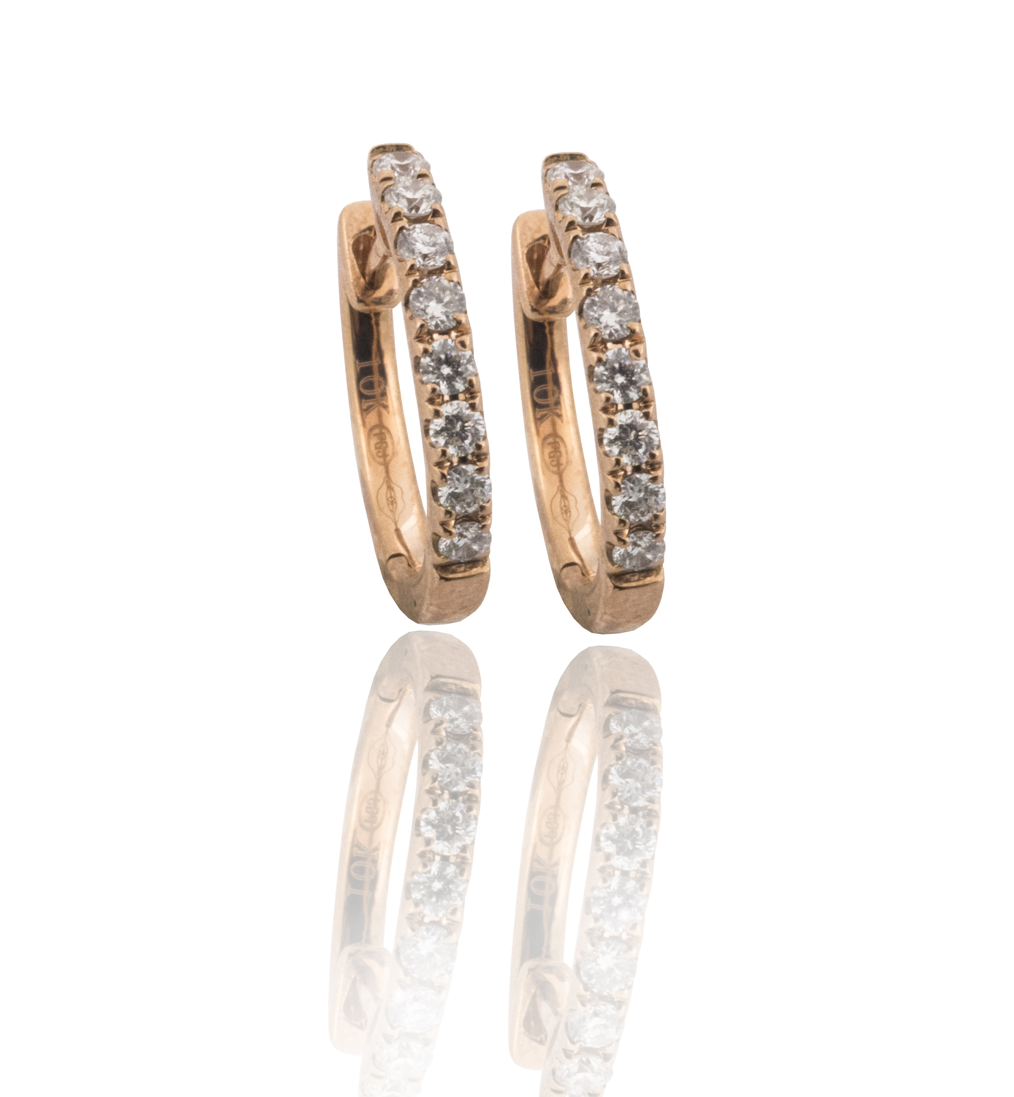 Rose Gold diamond hoop earrings!