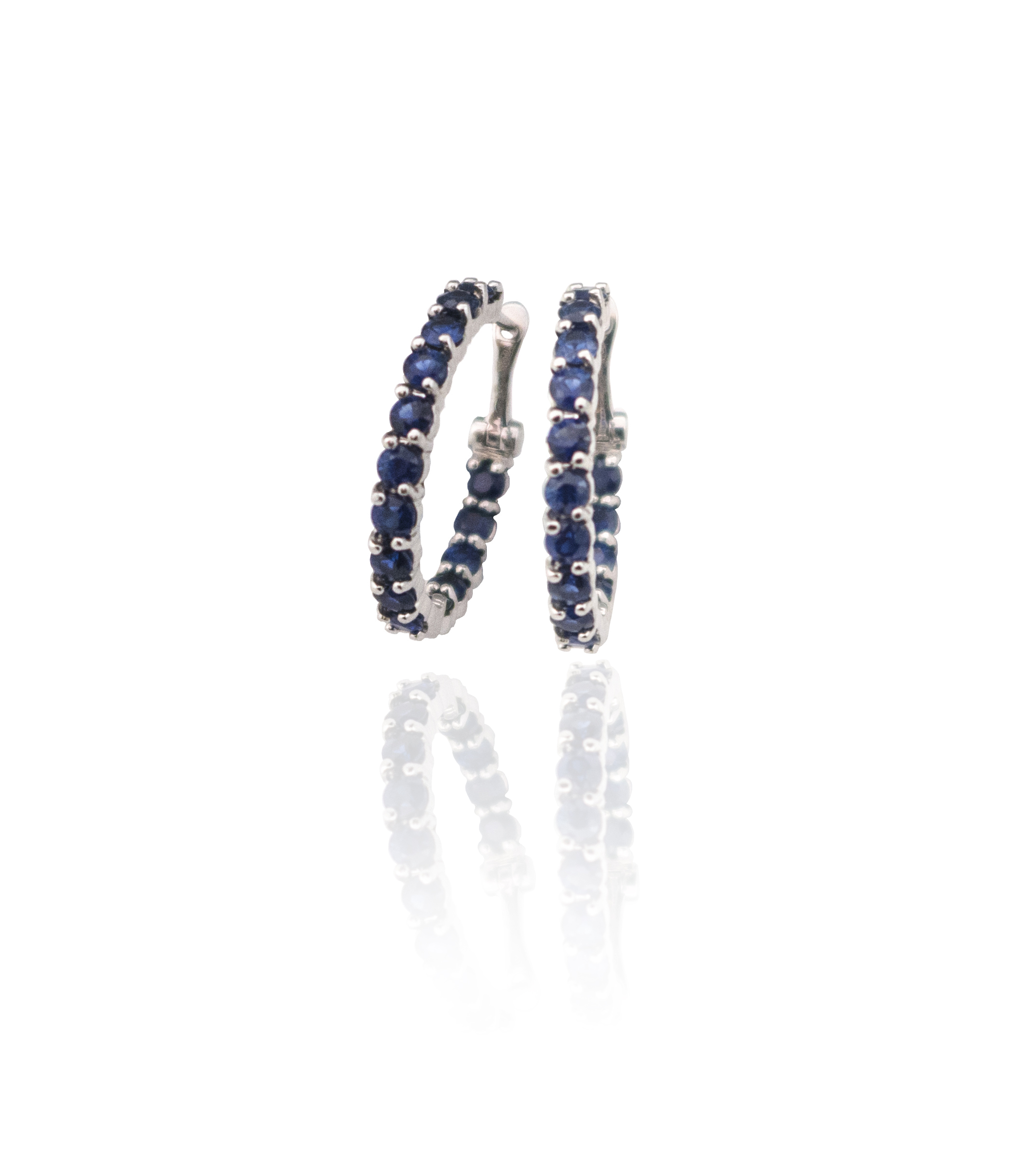 Sapphire white gold hoop earrings!