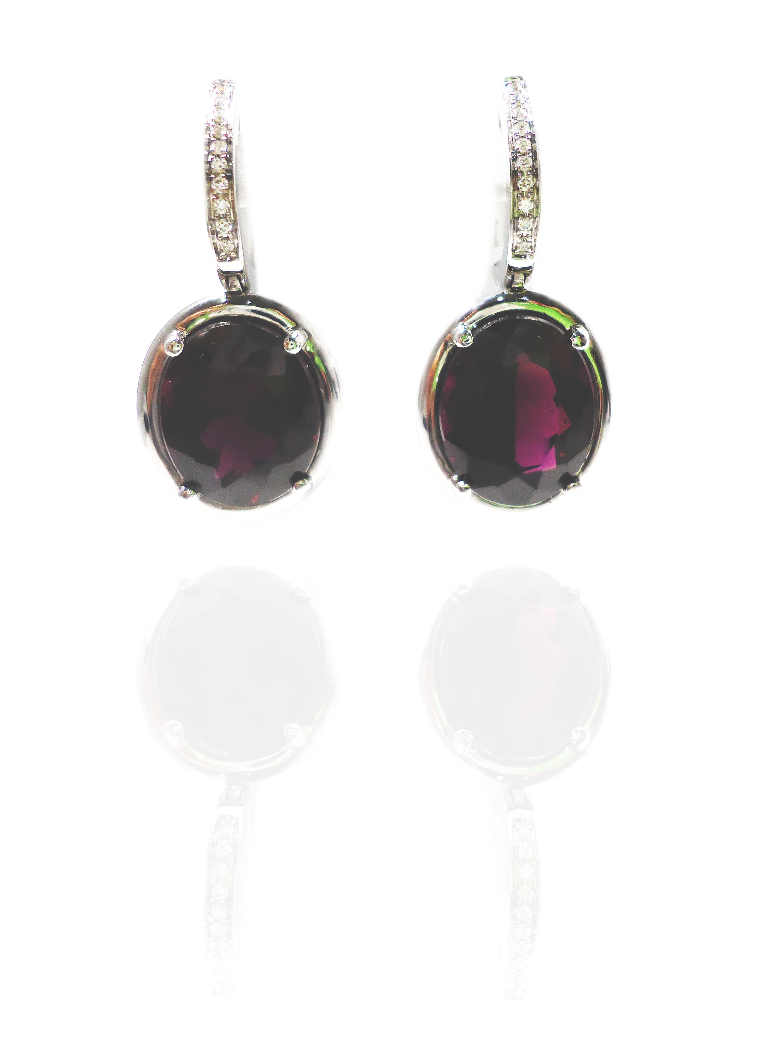 Diamond Rhodolite drop earrings!