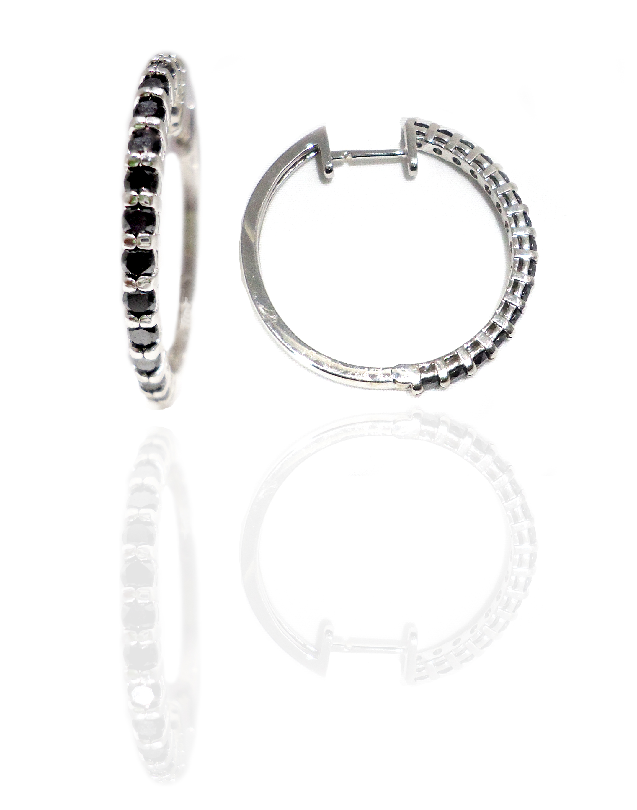 Black diamond hoop earrings!