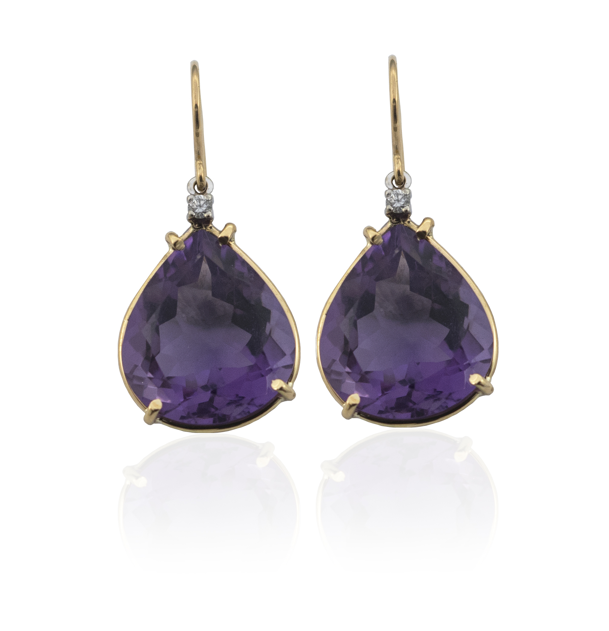 Amethyst diamond drop earrings.!