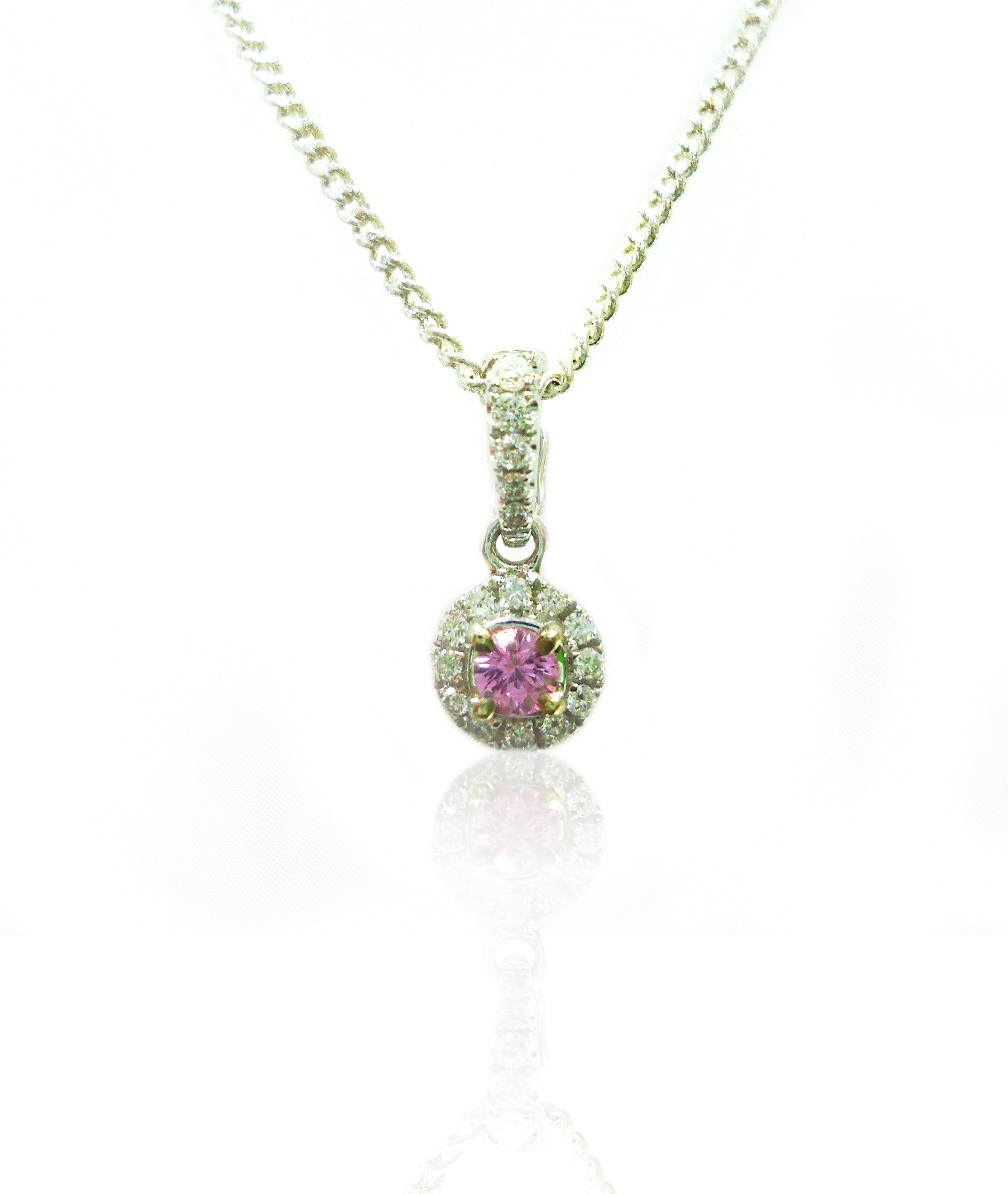 Pink Sapphire and diamond pendant!