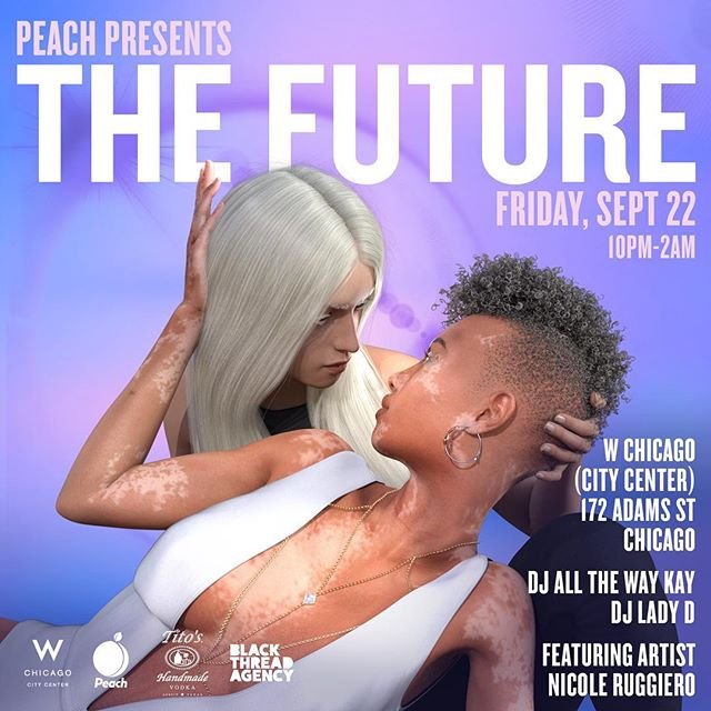 The finale of our inaugural series for @peachpartyofficial is finally here! 9/22 join us as we transform @wcitycenter into a vision of the future! Thank you to our partners @titosvodka , @freewritechi , and @_nicoleruggiero ! You don't want to miss this Future event!
