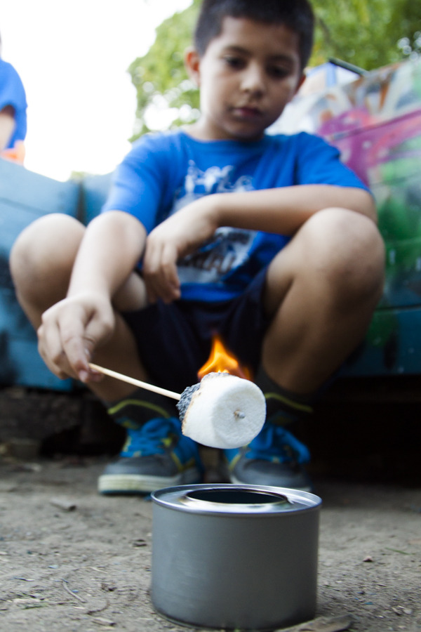 "Its safe! We checked and Sterno recommends this as part of a recipe for ""Smores Indoors"". We did it outside though. :)"