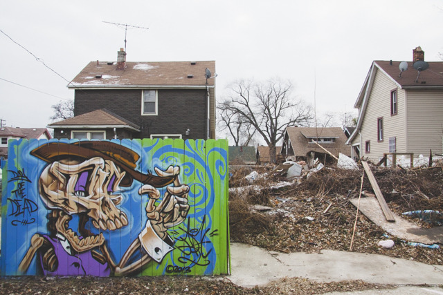 Yesterday the most (environmentally) problematic empty home on Falcon/Avis at  #TheAlleyProject  came down. This was following an intensive creative demo where as much as possible was salvaged from the home for use by others. Kobe Solomon's skull tips it hat to the rubble where the house stood the day before.  #SWDetroit