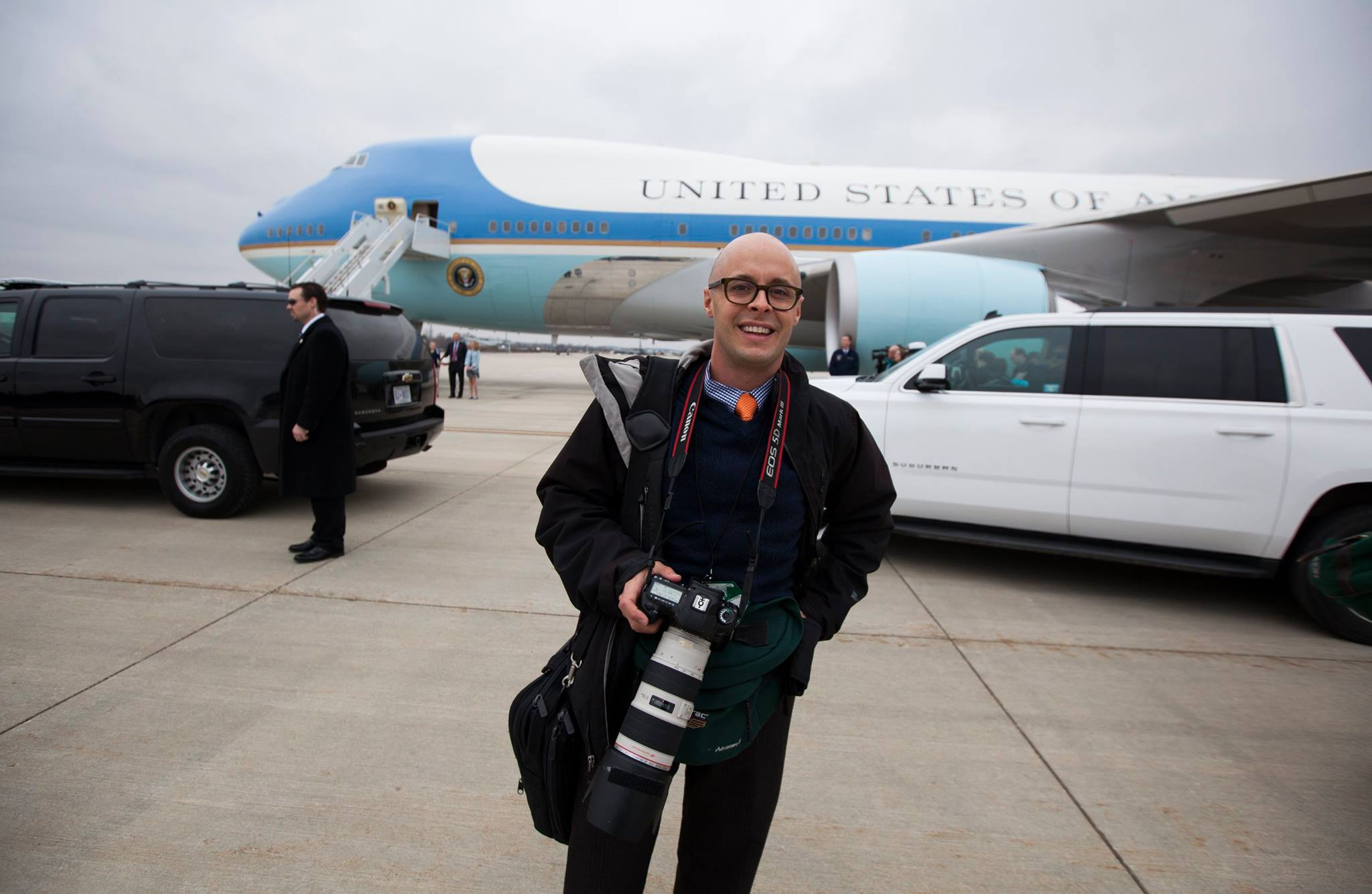 This is me (2015) in front of Air Force one after a day of Covering Obama's visit to Lawrence while embedded with the White House Press Corps. That's Secret service to the left. We're Tight.