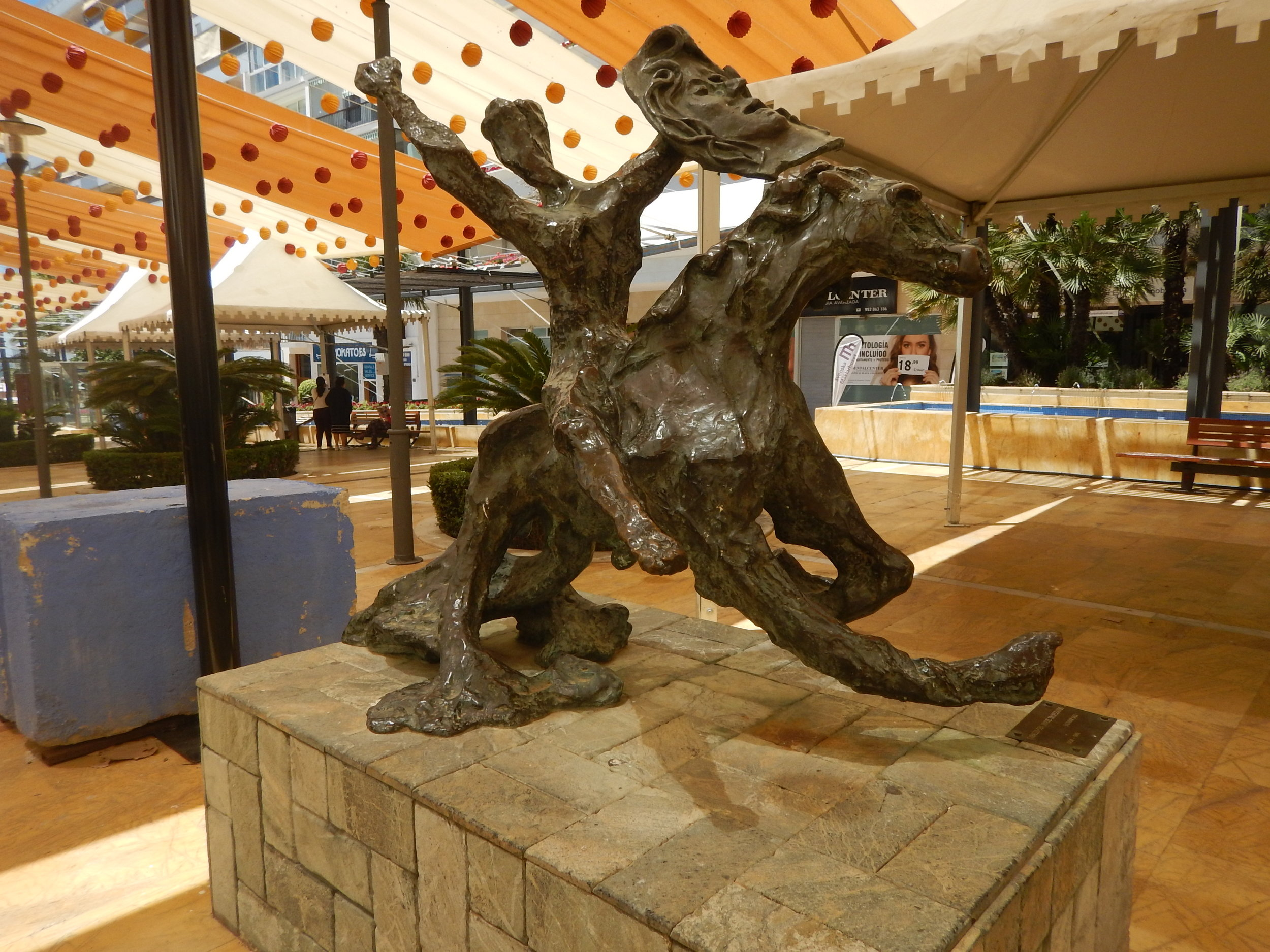 clutching at straws here!! Salvadore Dali's impression of Zorro on horseback, in Marbella, Spain.