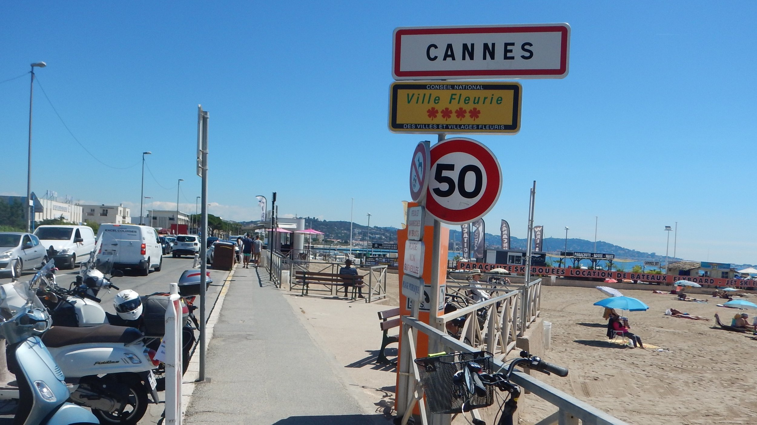 riding north- east along the coast I come to Cannes, convenient moto parking.