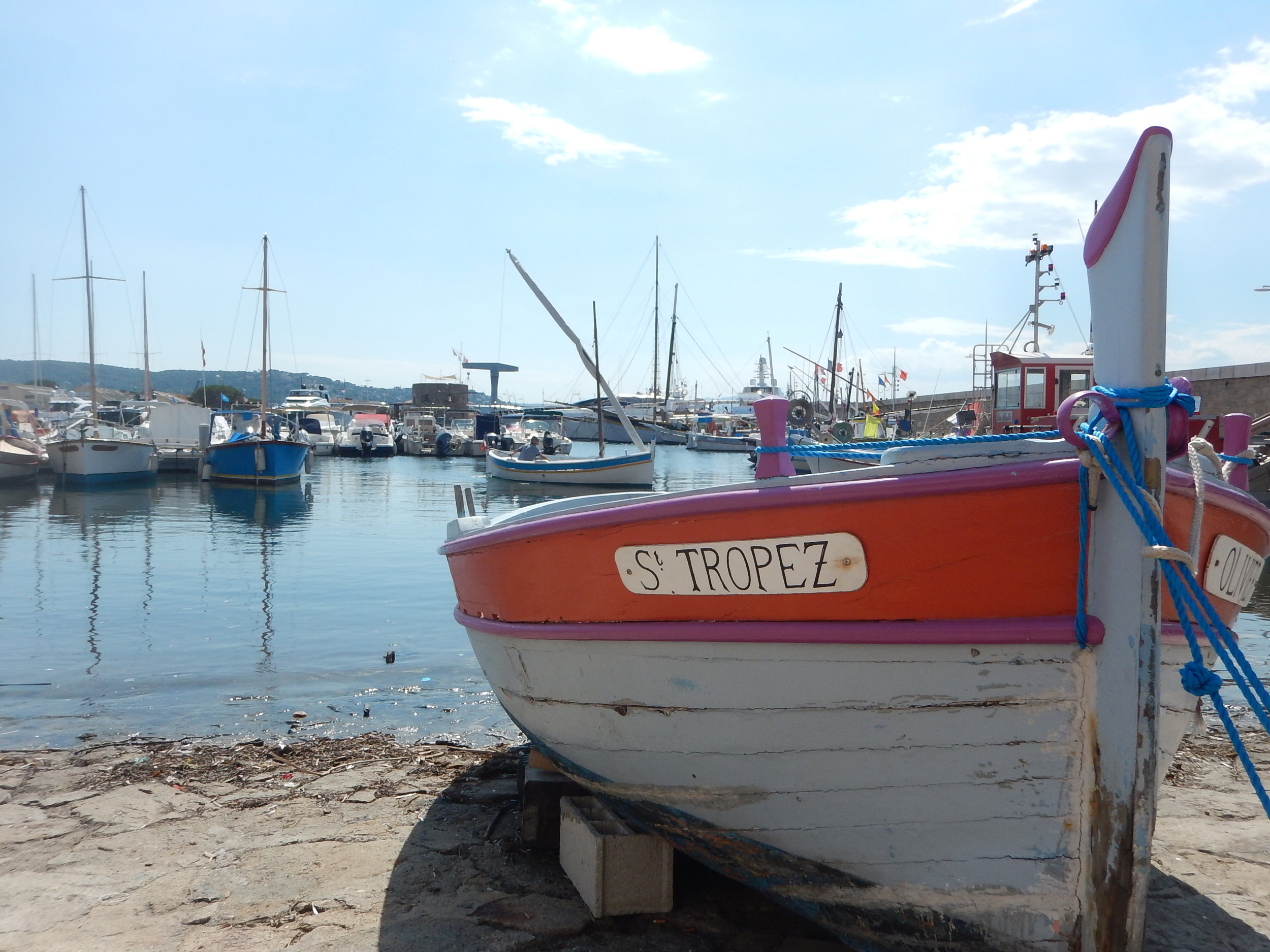 I love this photo. I was a bit thrilled to find an old wooden boat called St Stopez.