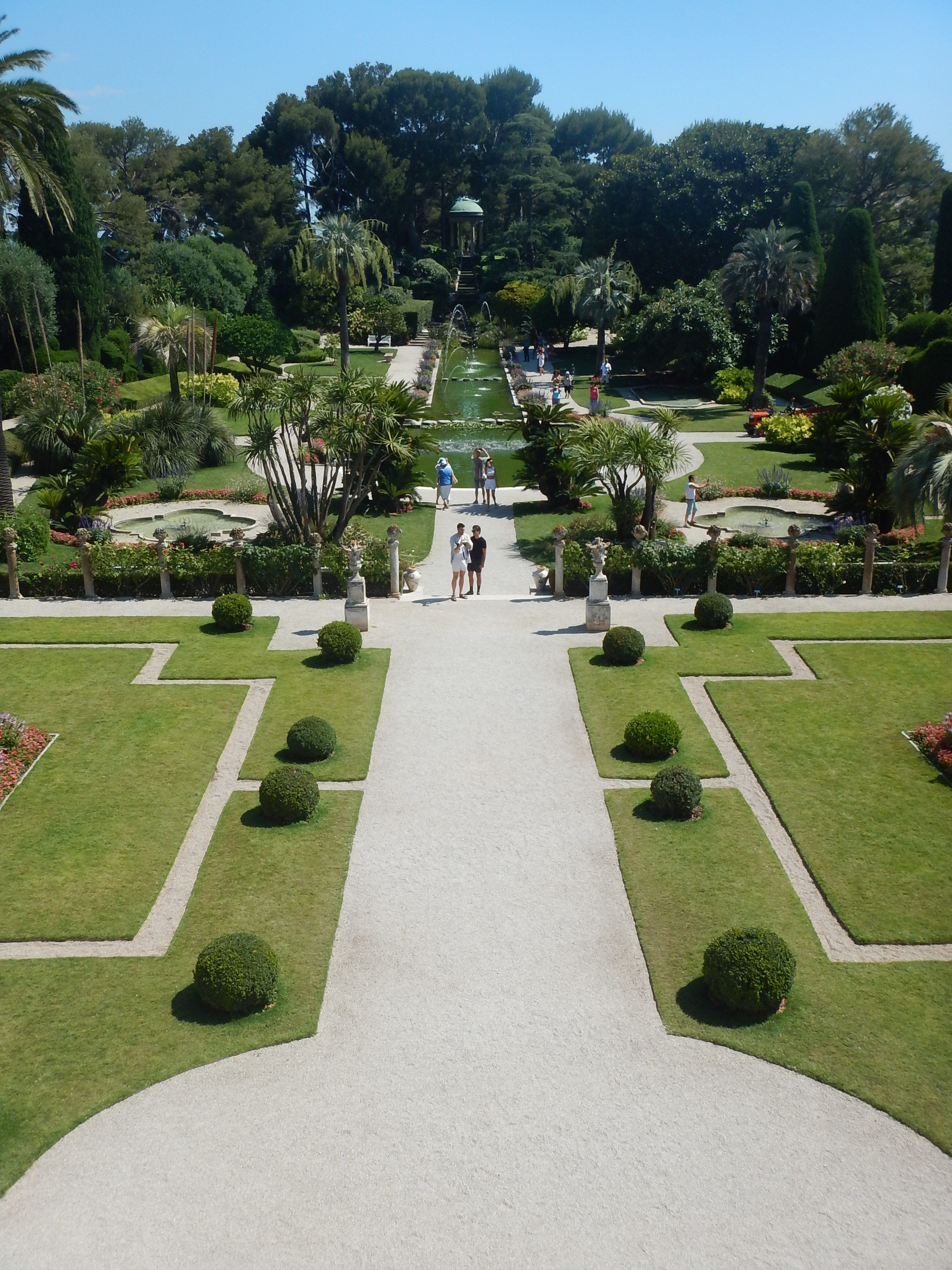 Part of the formal gardens from the upstairs window. The fountains dance to classical music, softly and gently.