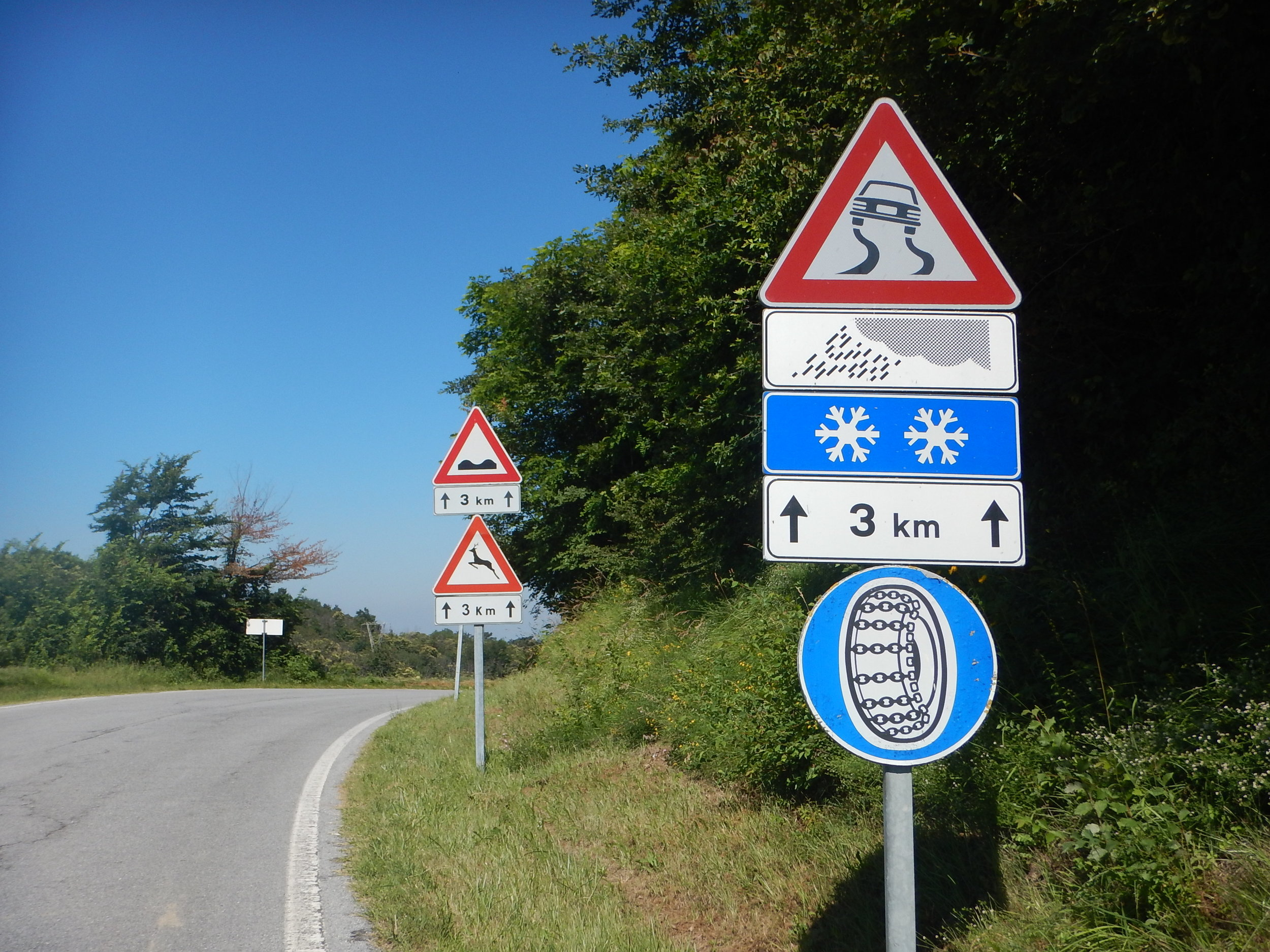S for Snow and Snow chains Signs in Italy