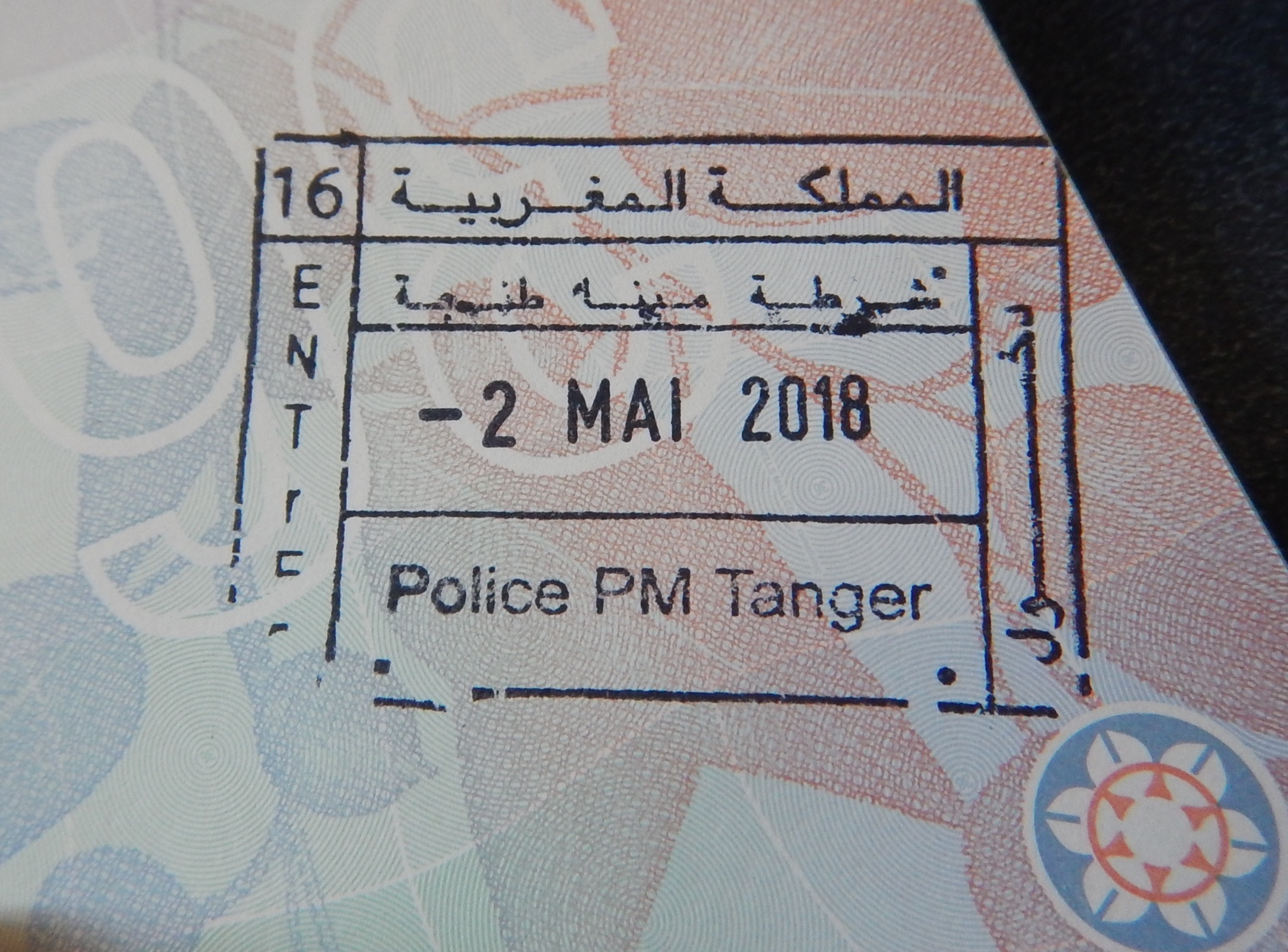 Passport stamp for Morocco