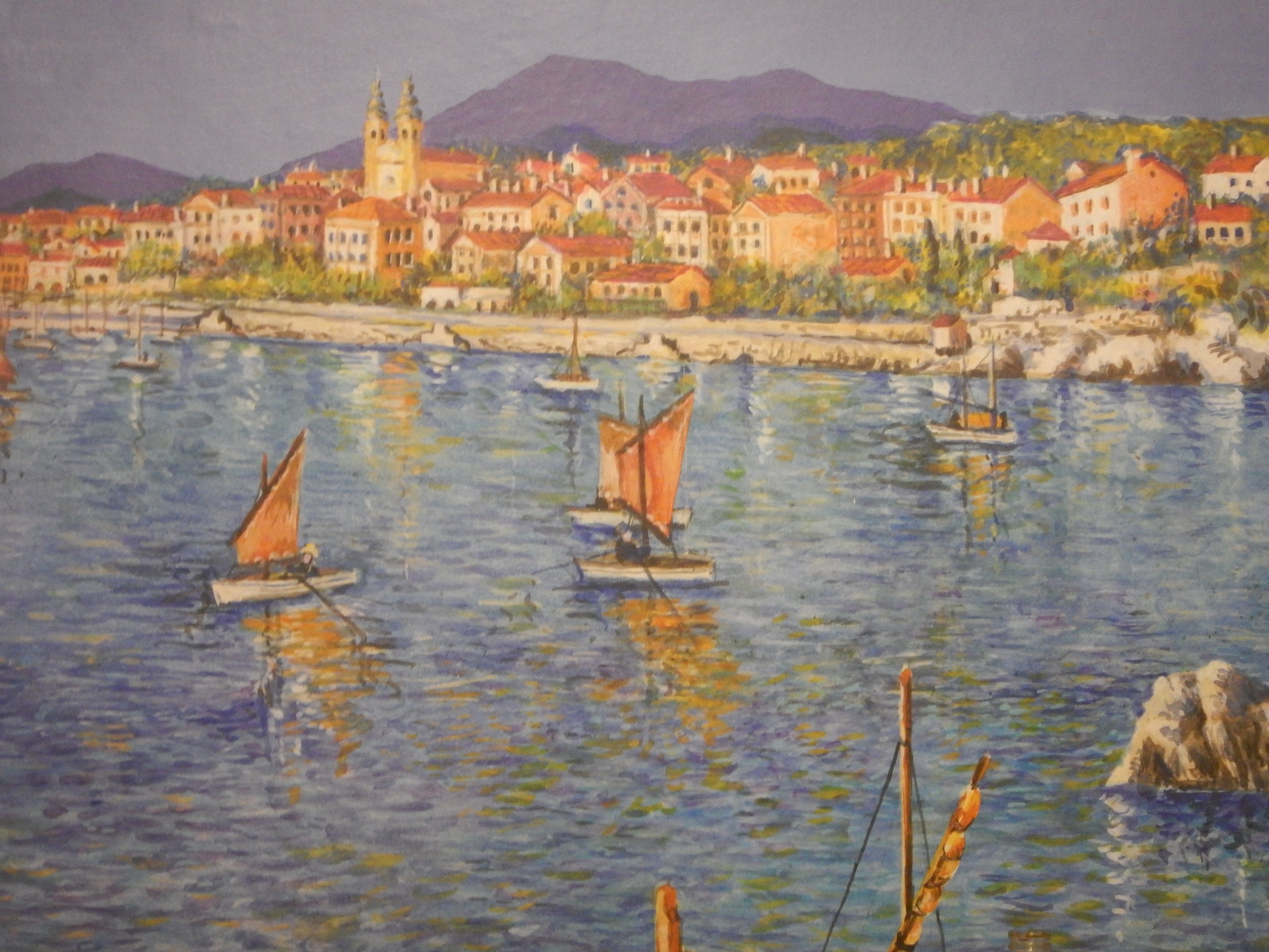 wall mural of Volosko Harbour in downstairs part of cafe.