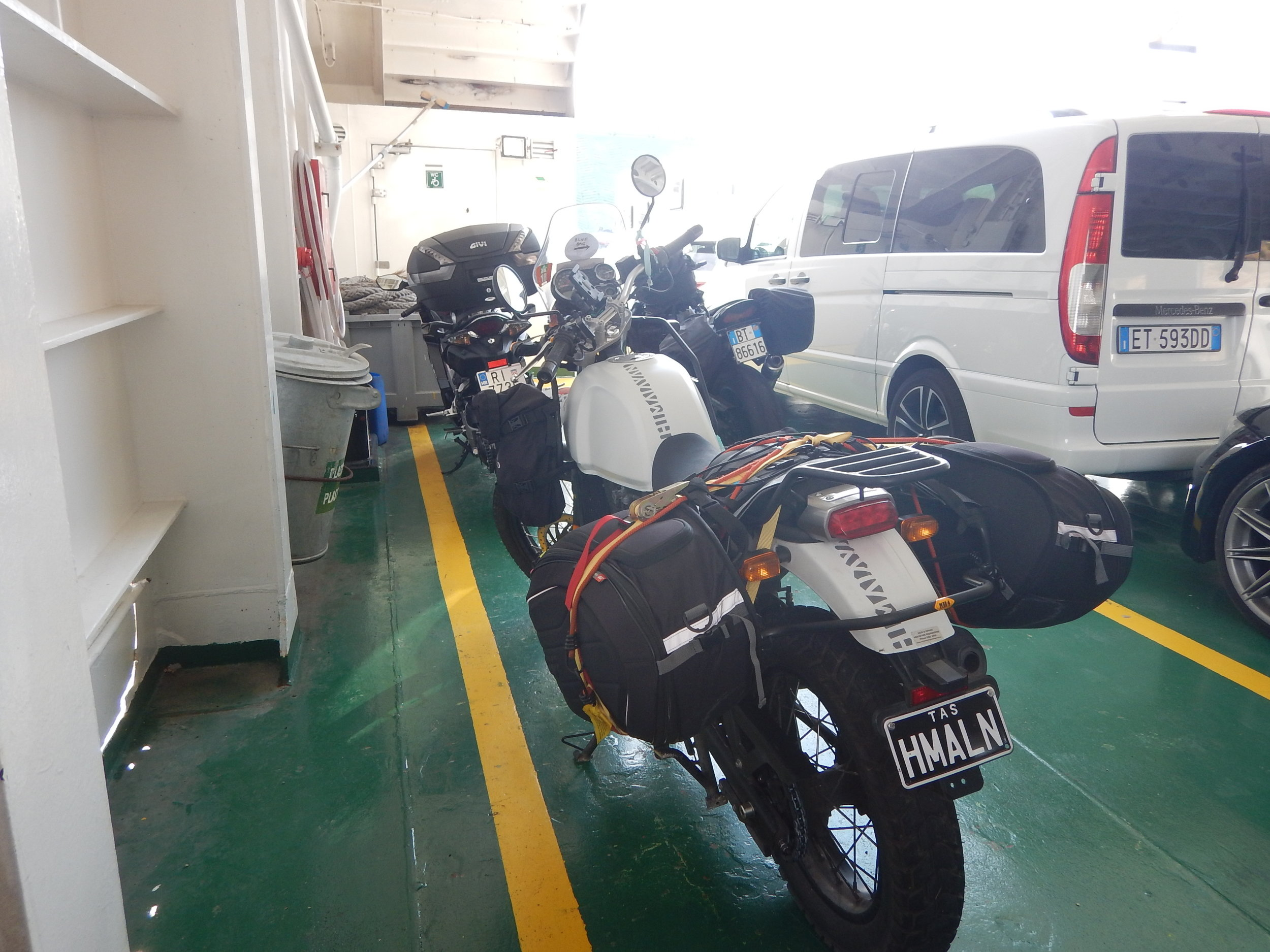 on ferry to pag island. you can see all my security devises around the panniers. 7 in all.