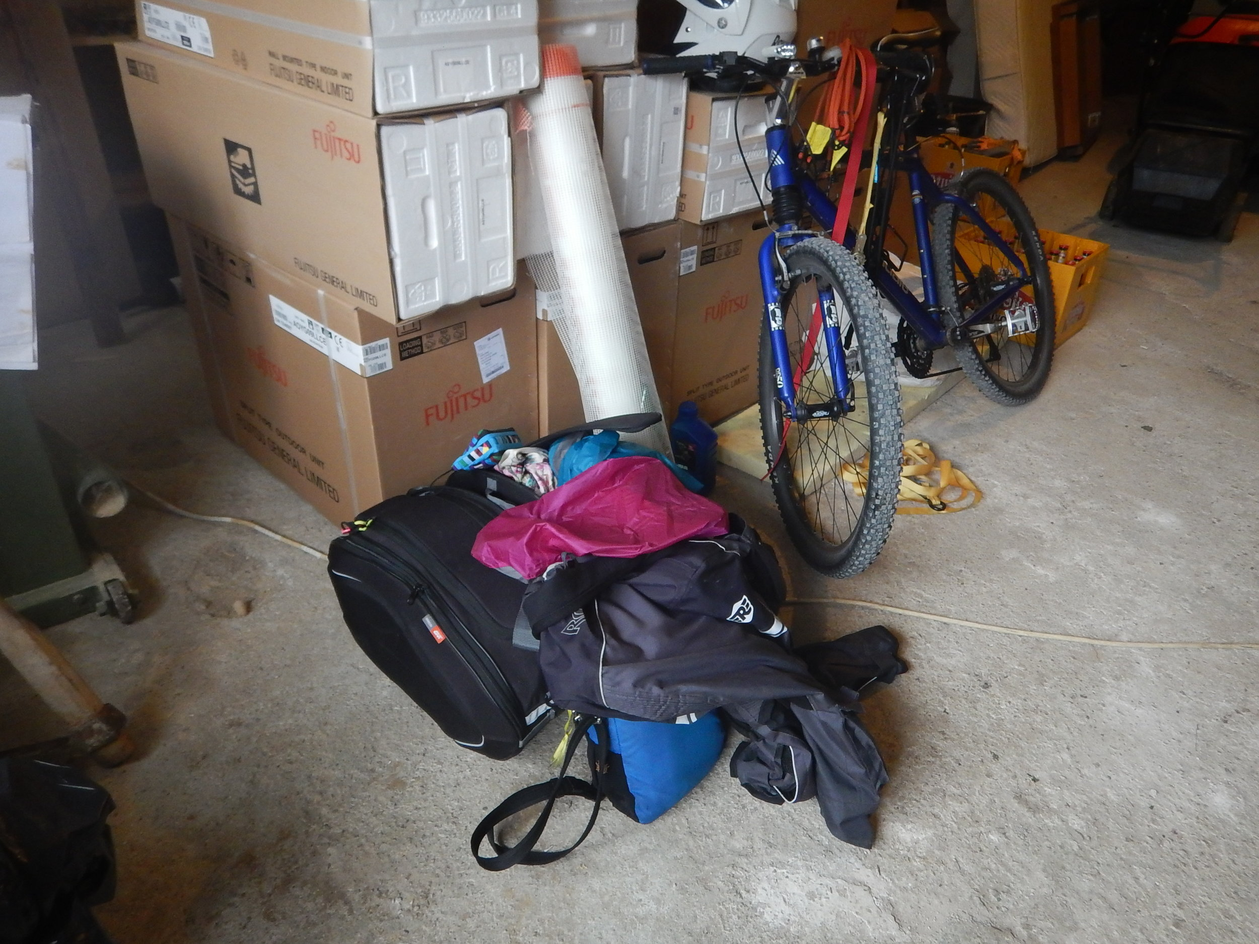 my pile of luggage and straps etc are hanging on bike handlebars.