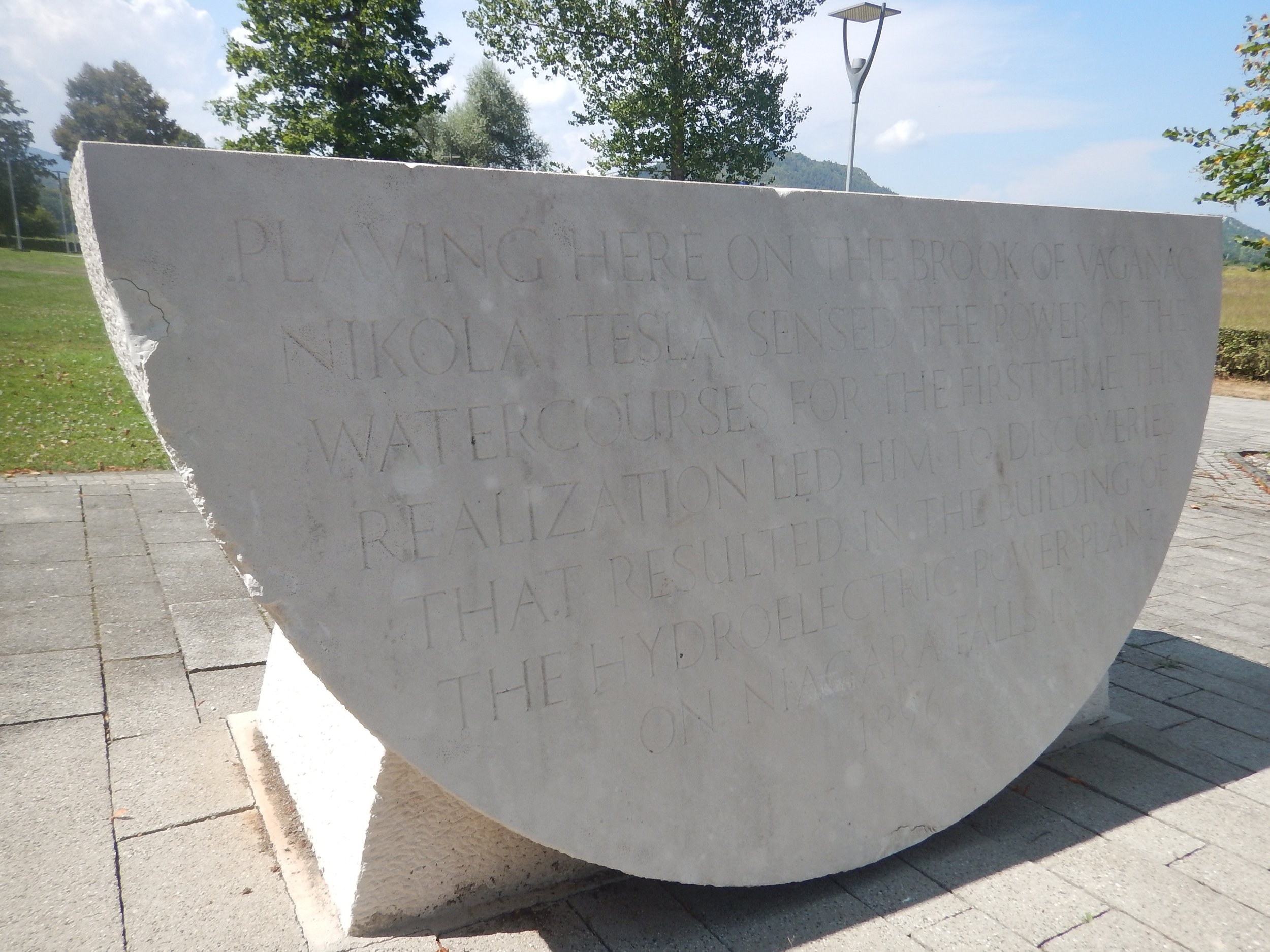 in a memorial park in Smiljan, Croatia