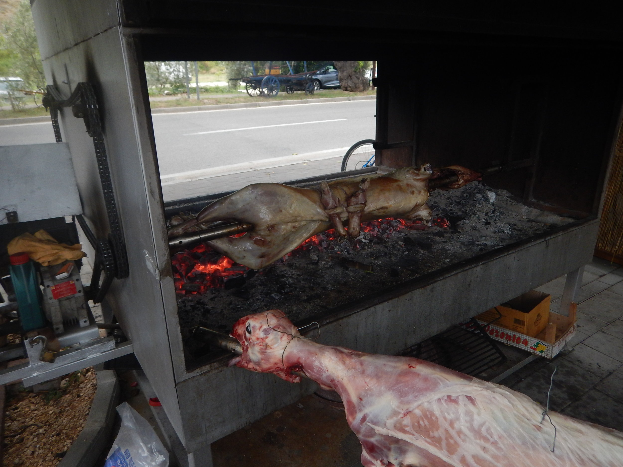 Anyone for lamb? the carcass is filled with salt before it is stitched up, cleverly using the hooves!