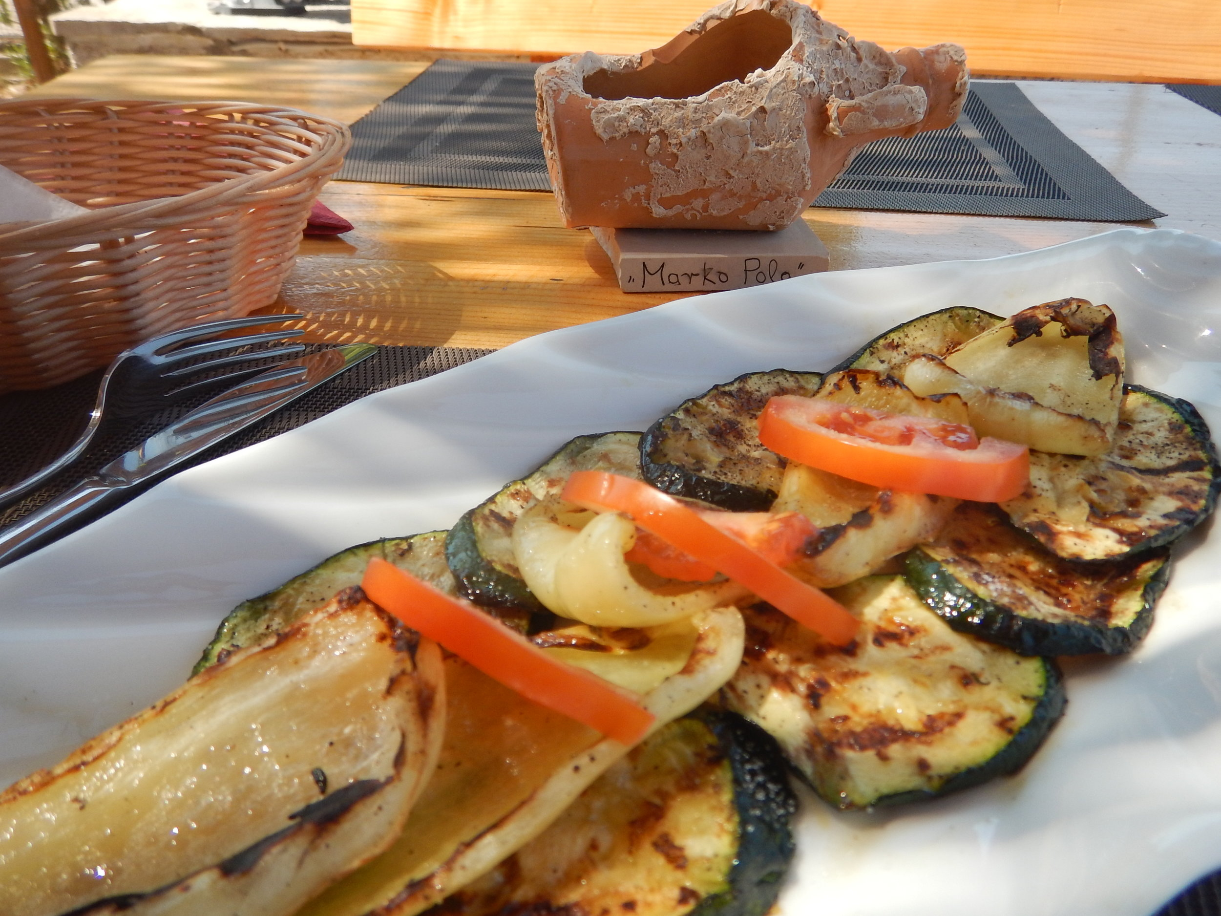 my lunch, my favourite Croatian meal of grilled veggies.