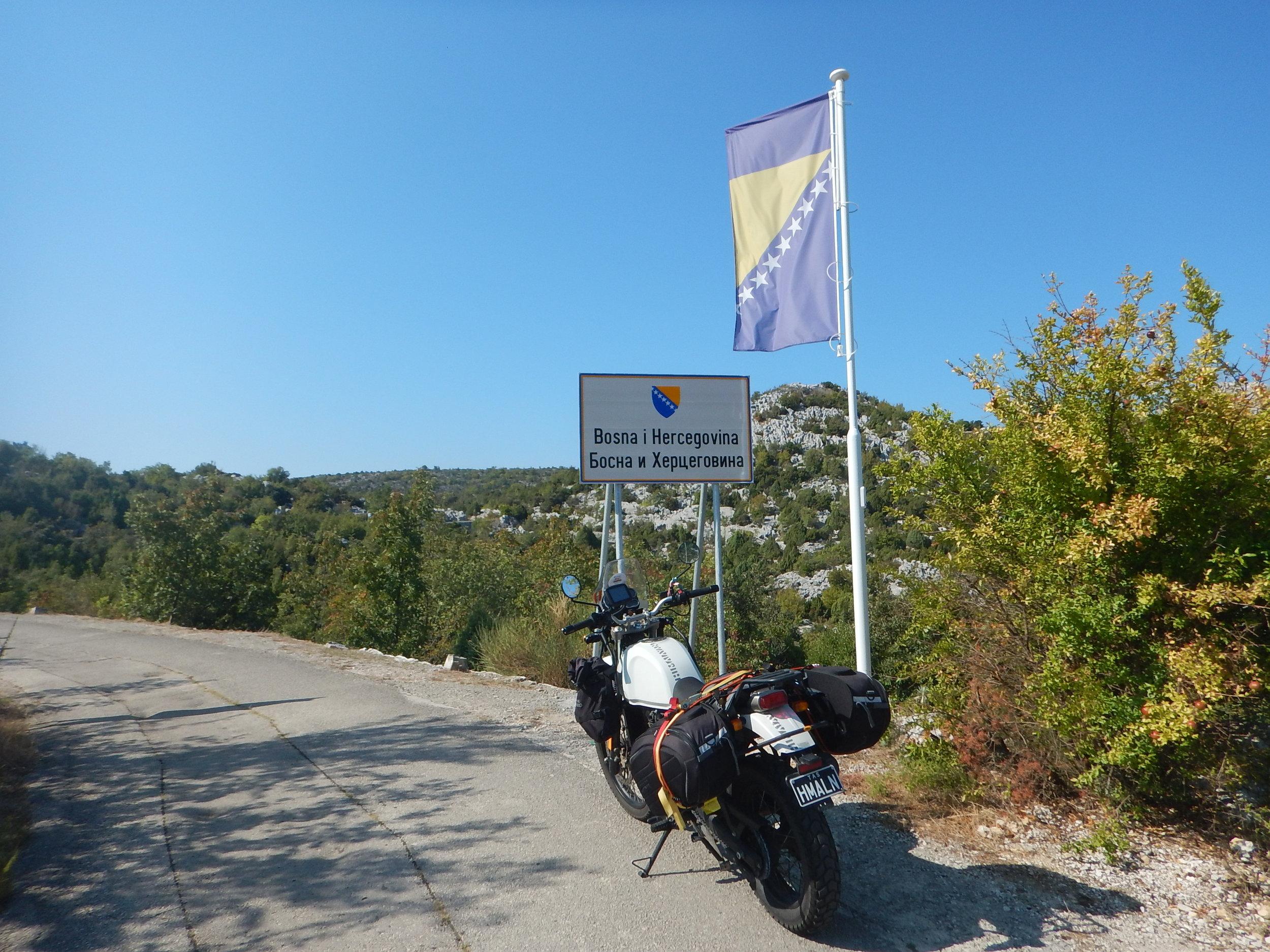 riding along the valley out of Croatia back into Bosnia. No passport check!!