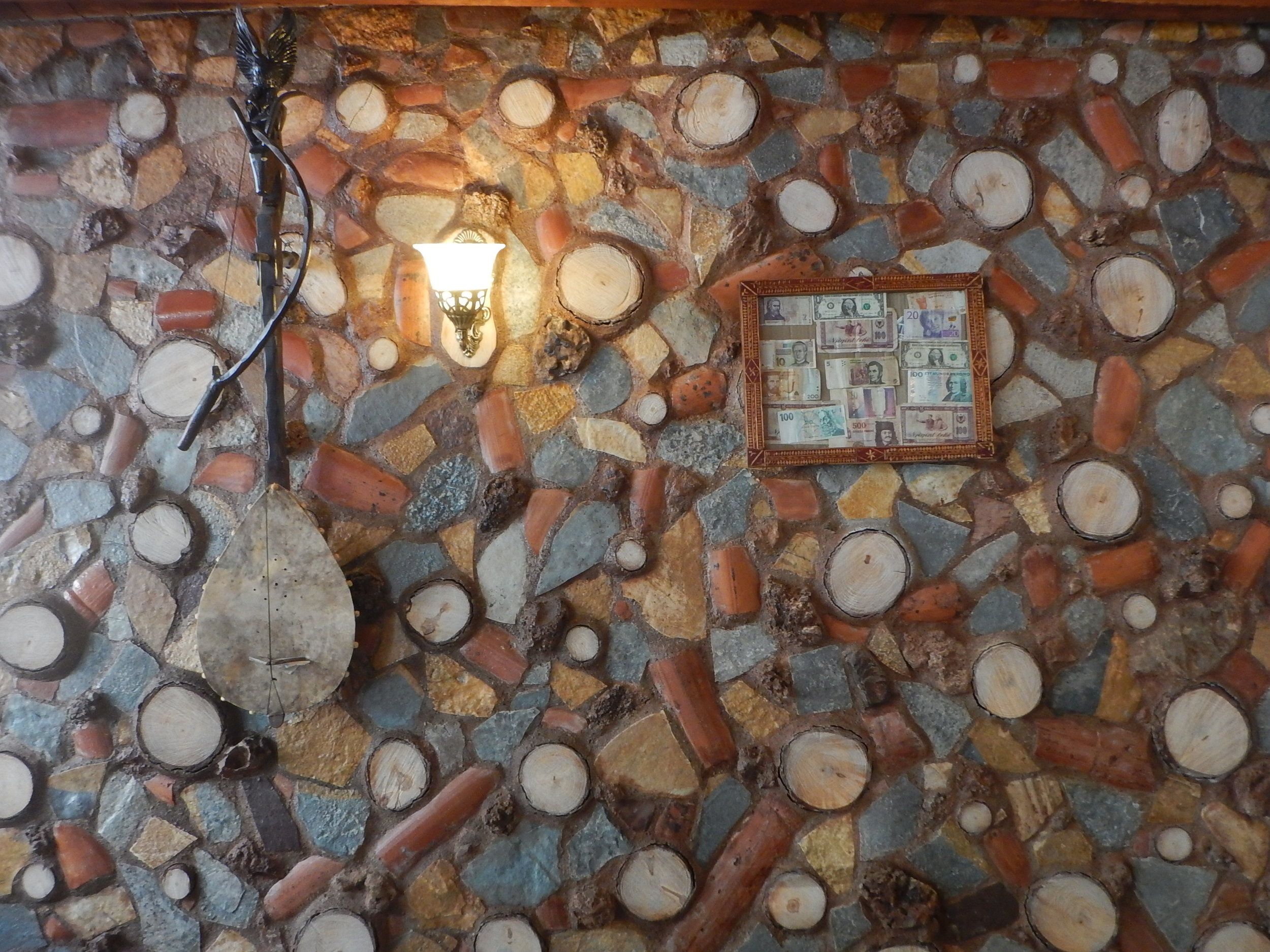 Gorgeous Stone and timber wall on homestay in northern Albania.