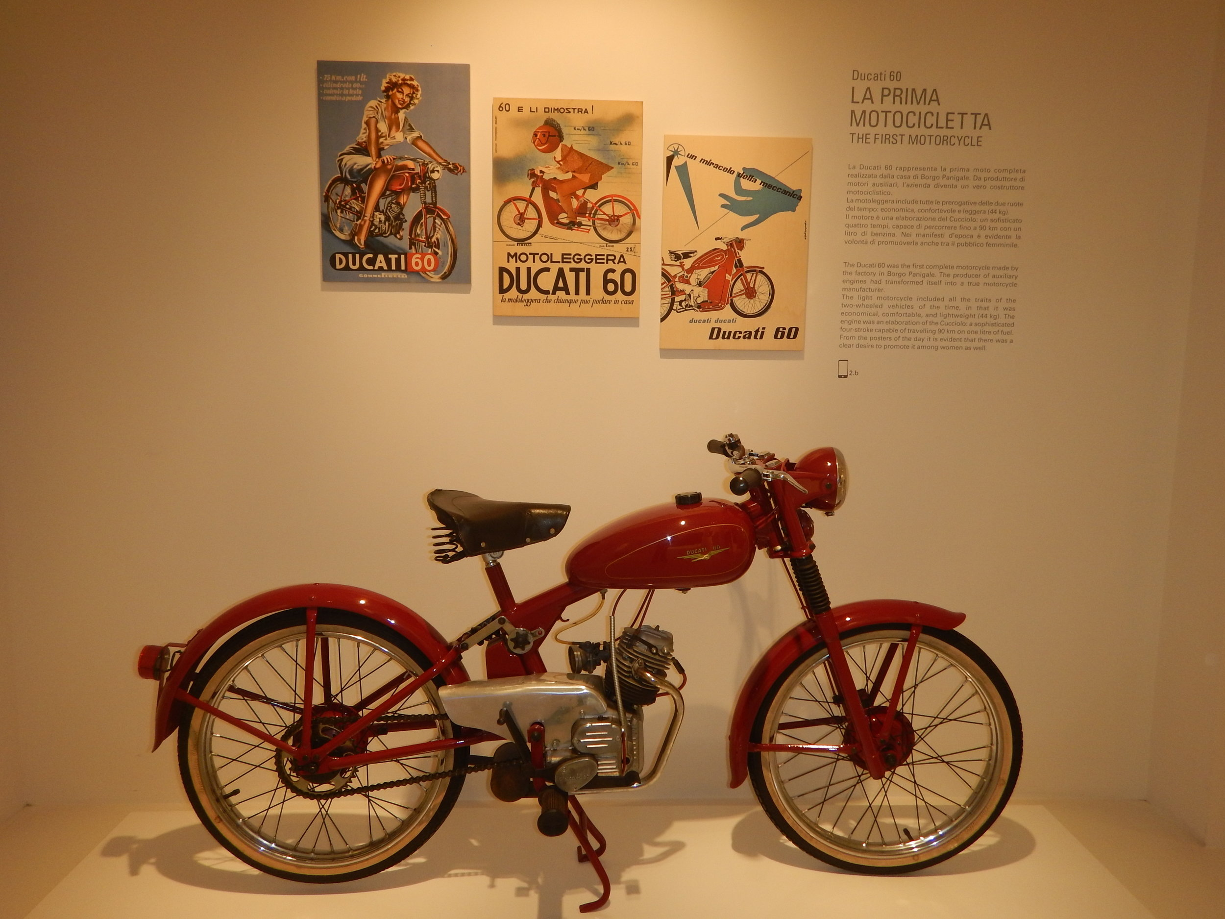 First bikes were single cylinder, then twins which they still produce and have just recently started to produce the four cylinder modelled on the success of their MotoGP engine.