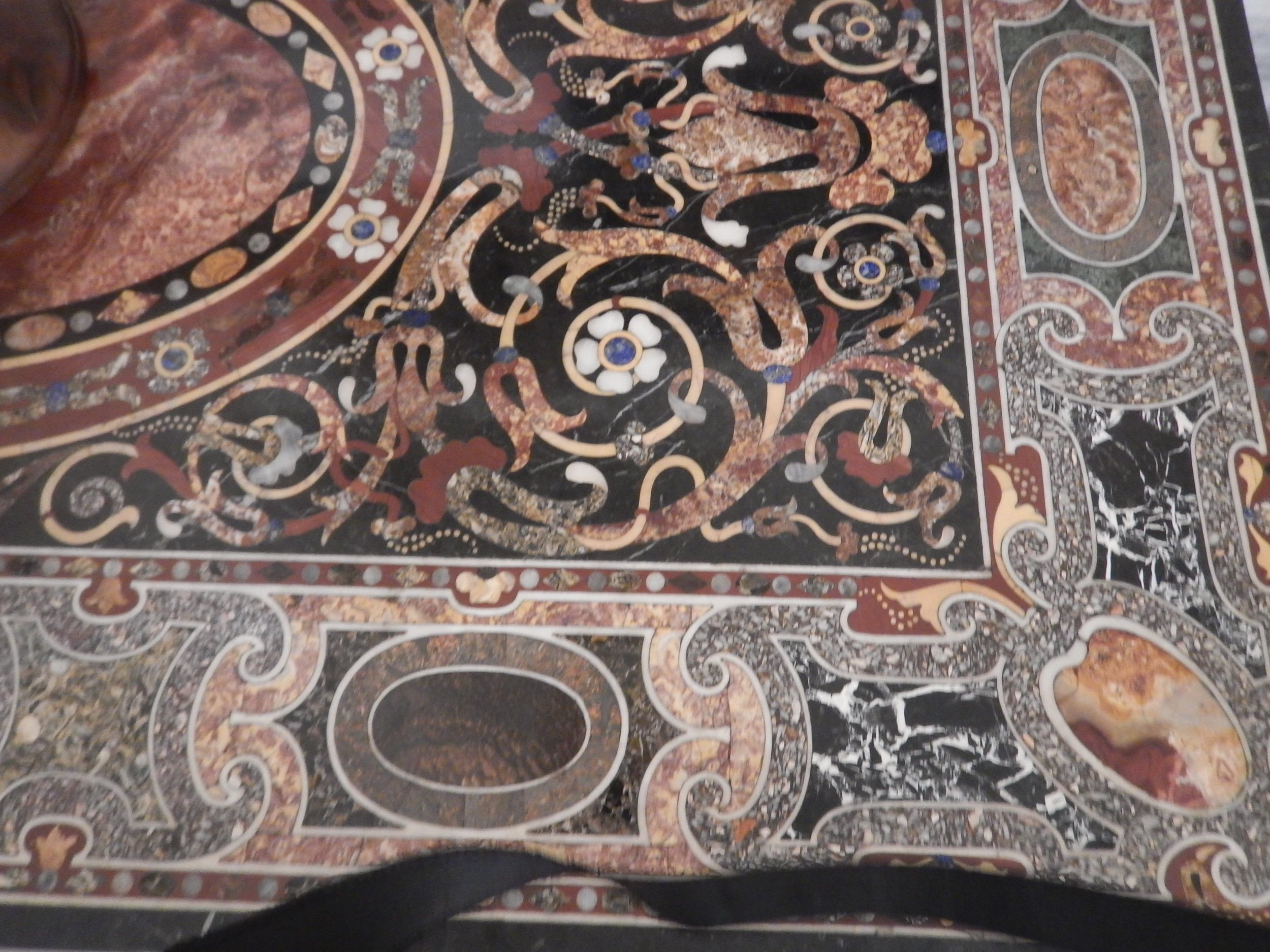 this marble inlay work is in a table, the floor in most rooms is just as spectacular.