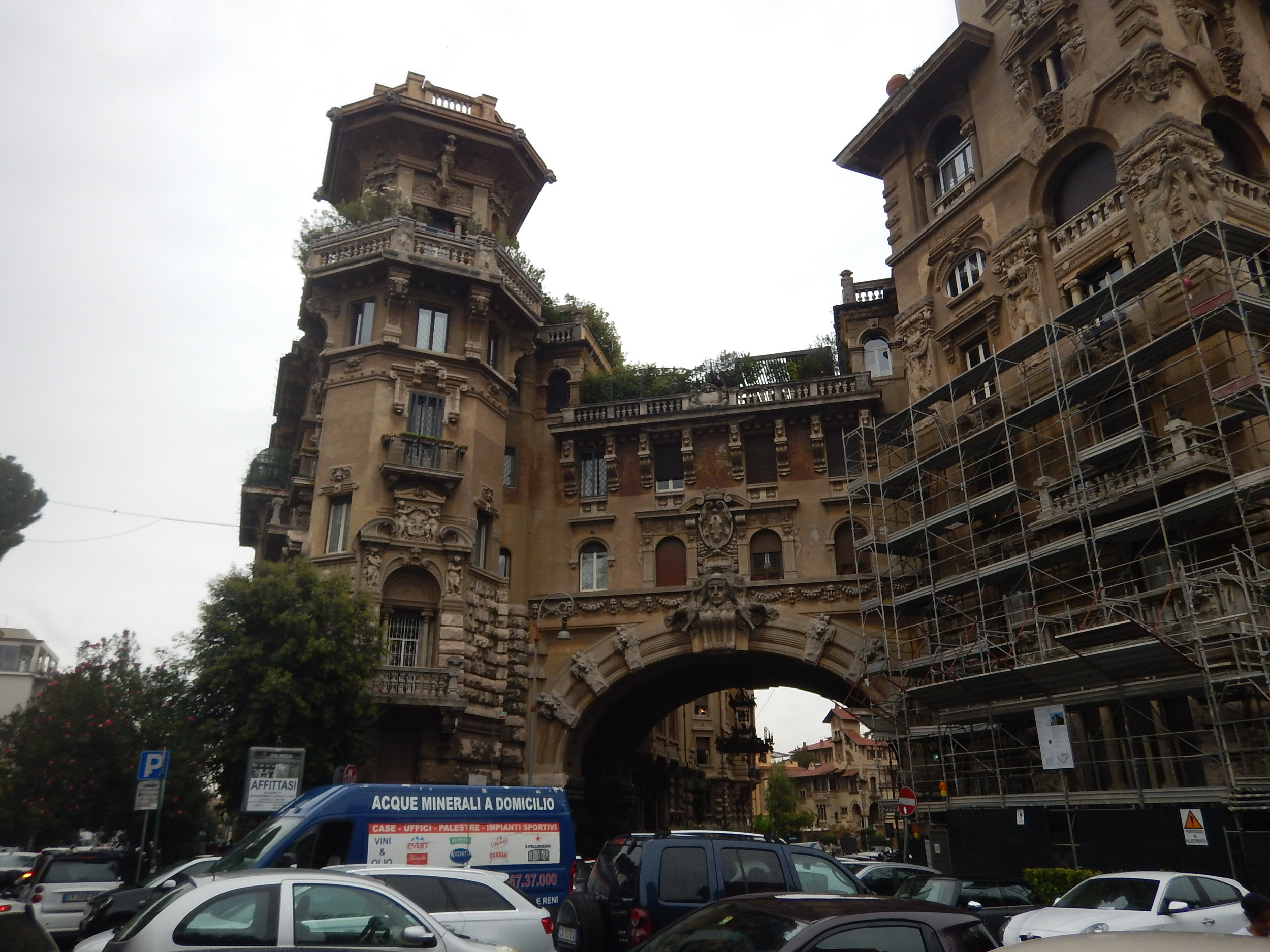 this structure might be regarded as the entrance to the Coppede Quartiere. Very limited parking within the area.