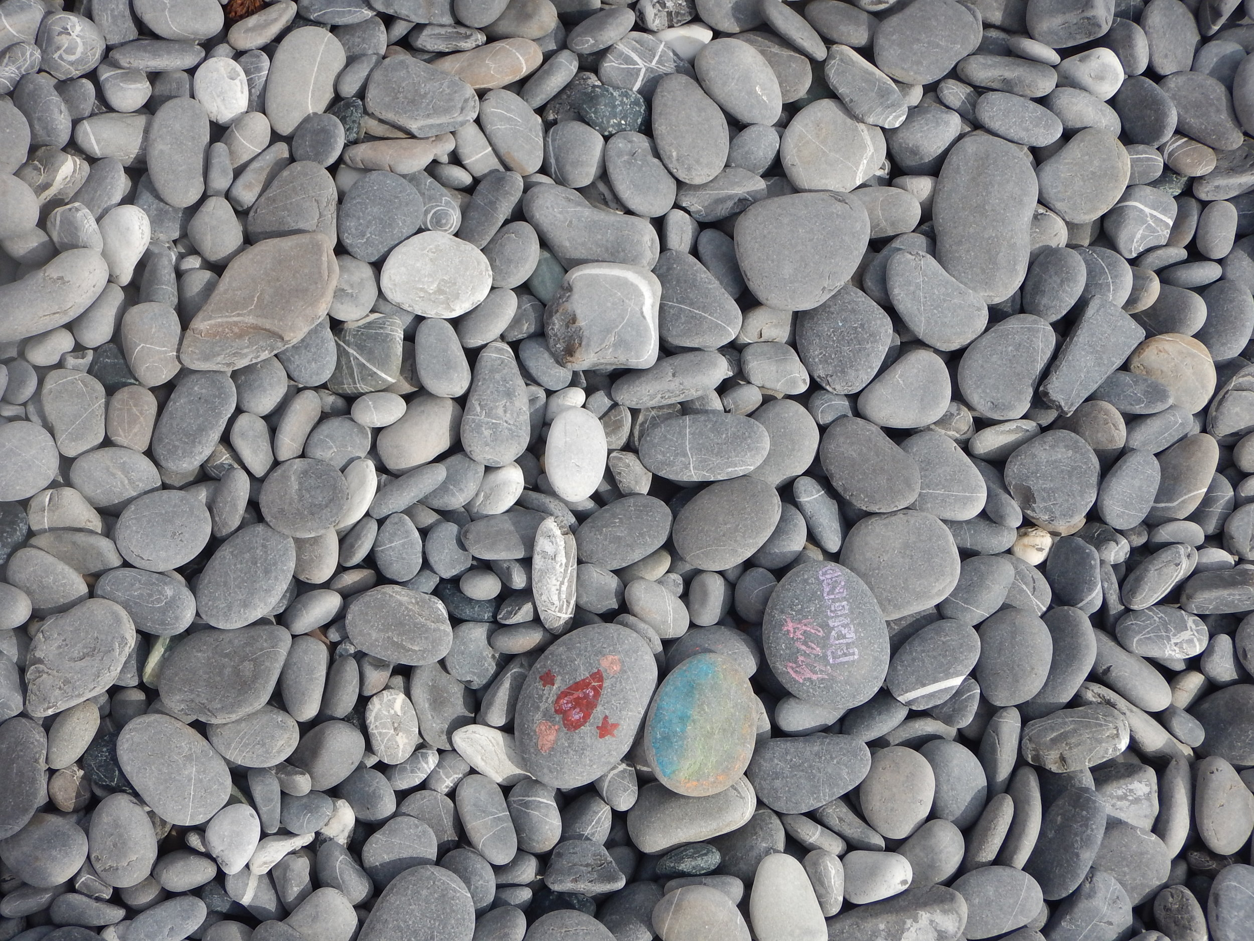 Stones on Camogli beach. Walking on them makes quite a unique tinkle. Like walking on small cardboard boxes.