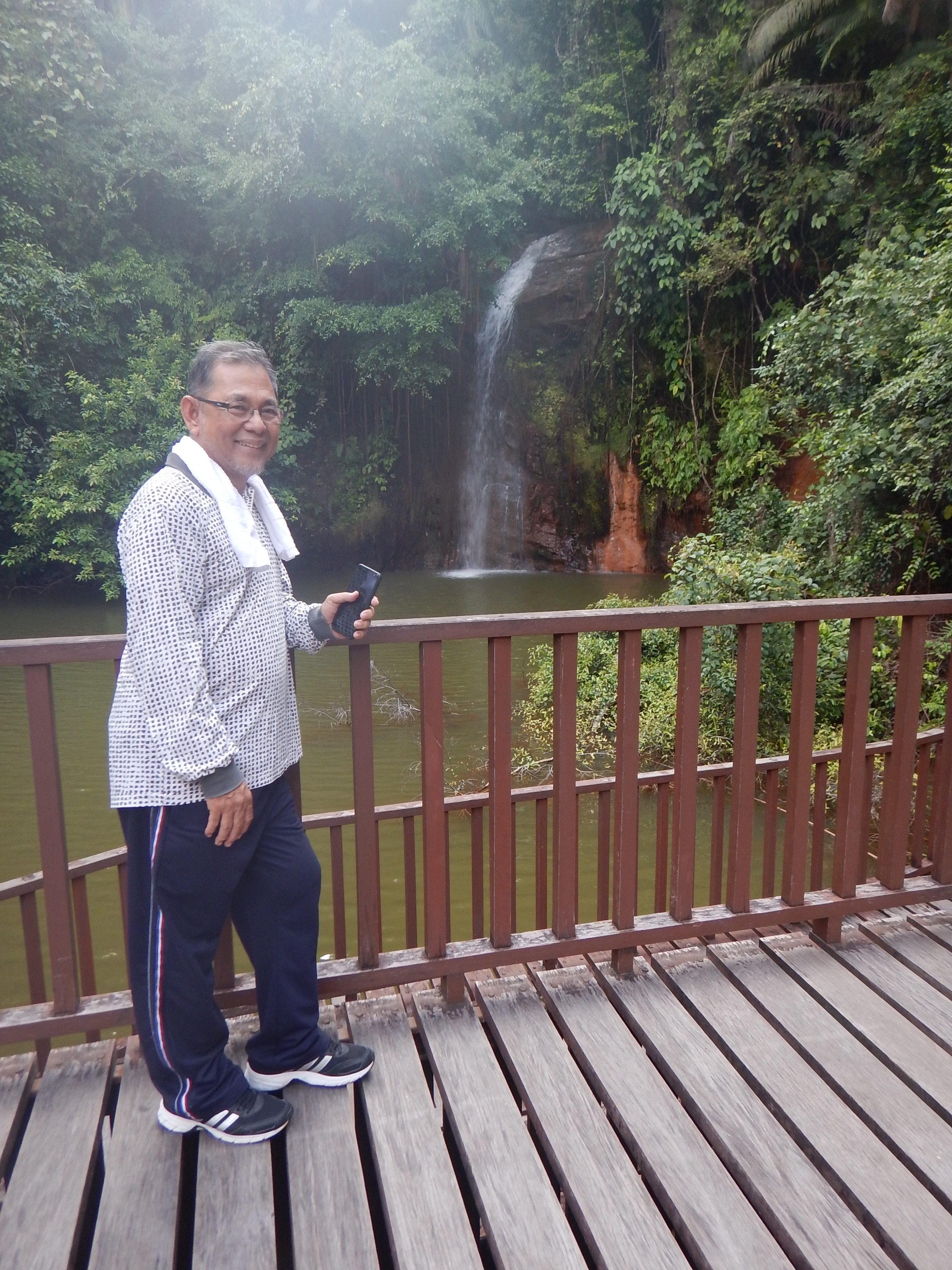 Aji at the waterfall.
