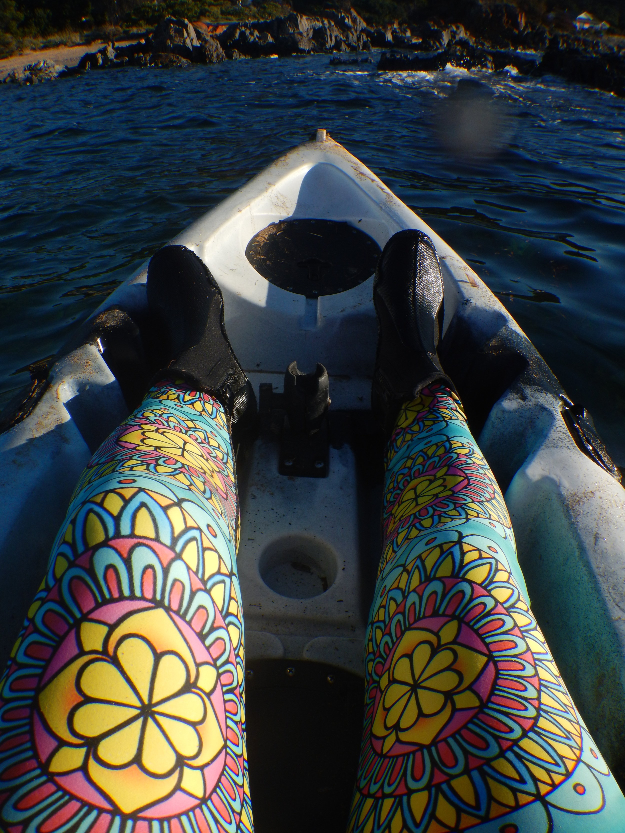 My new leggings are comfy in the kayak.
