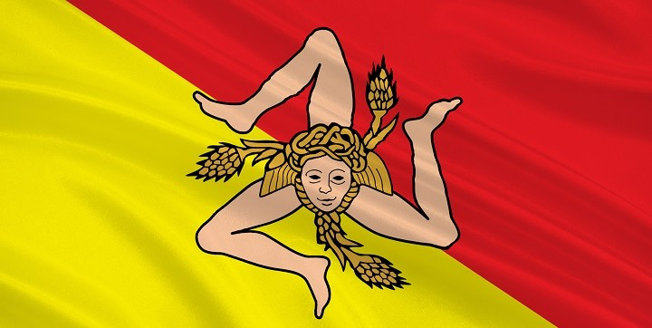 Sicilian flag.    As it turns out my general knowledge is slack and Margot points out that the three legged lady is actually a symbol of Sicily.