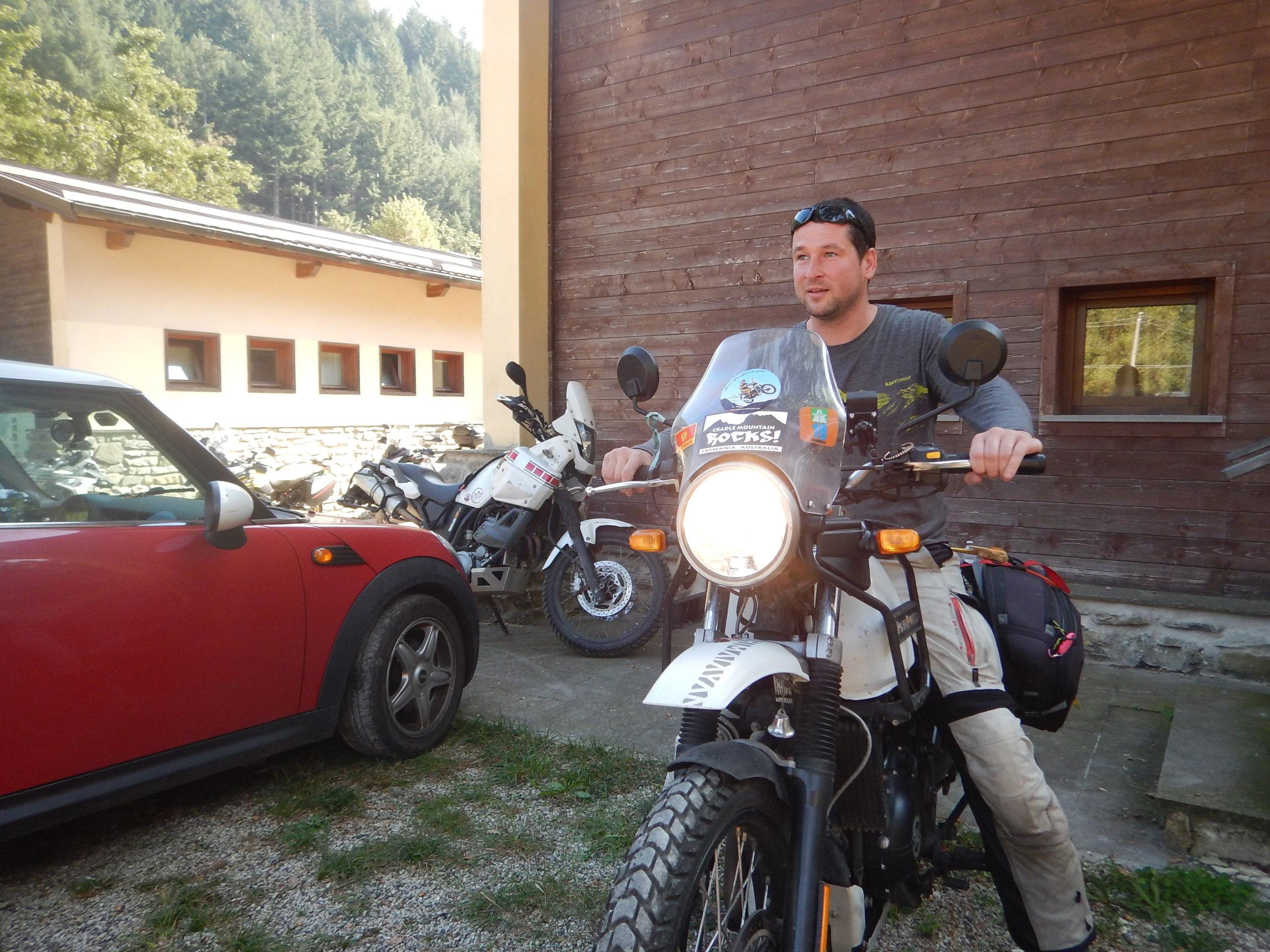 Dimitar on my bike in Italy, September 2018