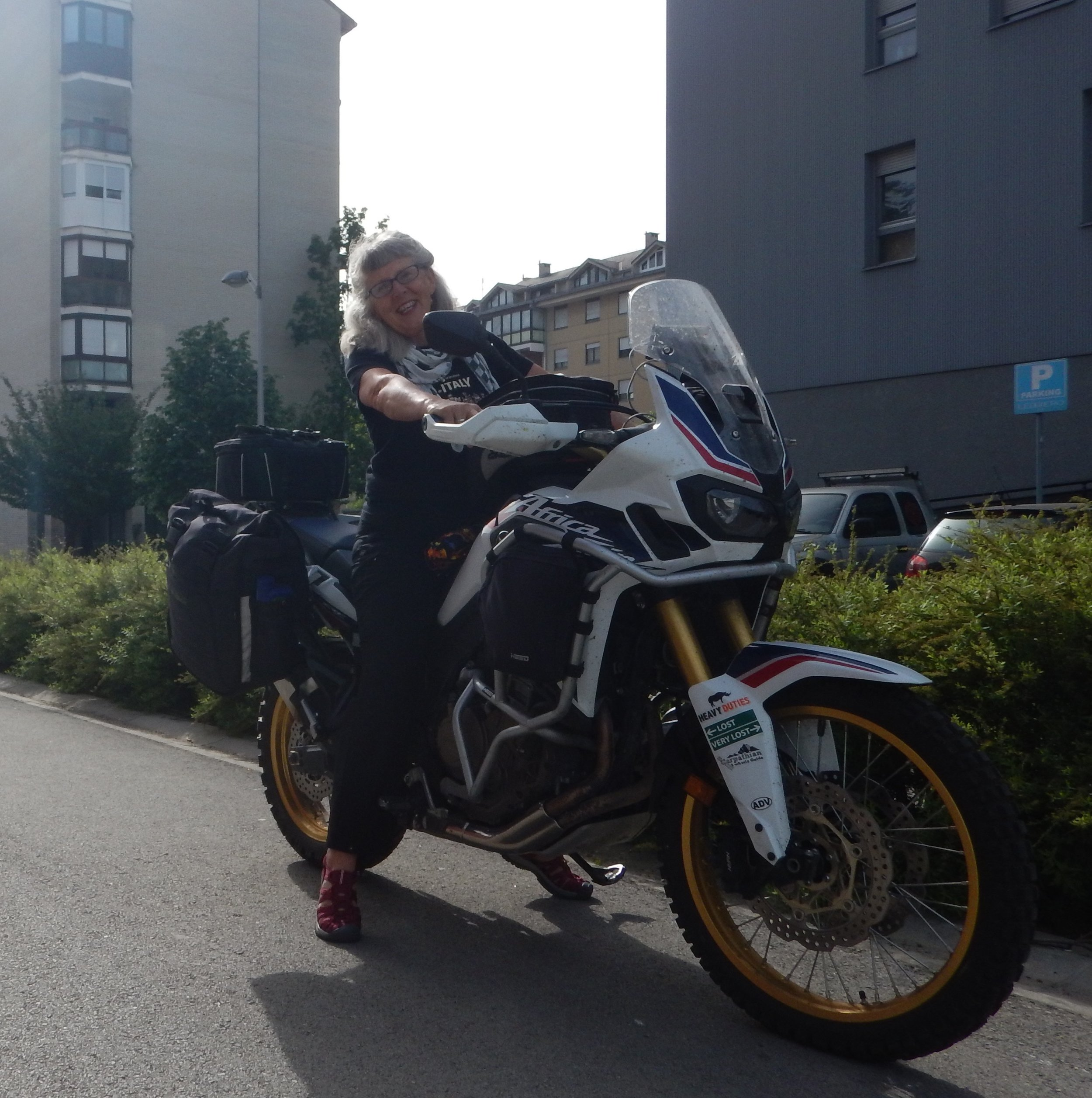 and he returns the favour. I am on his bike in Croatia, April, 2019.