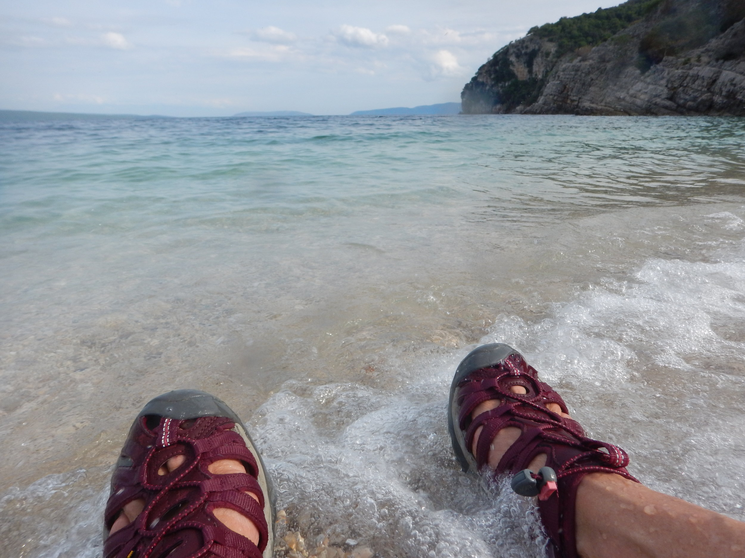 My Keen sandals, an absolute gift to have them, this summer they are my go everywhere shoe. Here they are on Beli beach after tramping 10 km through beech and oak forests to visit a labyrinth.