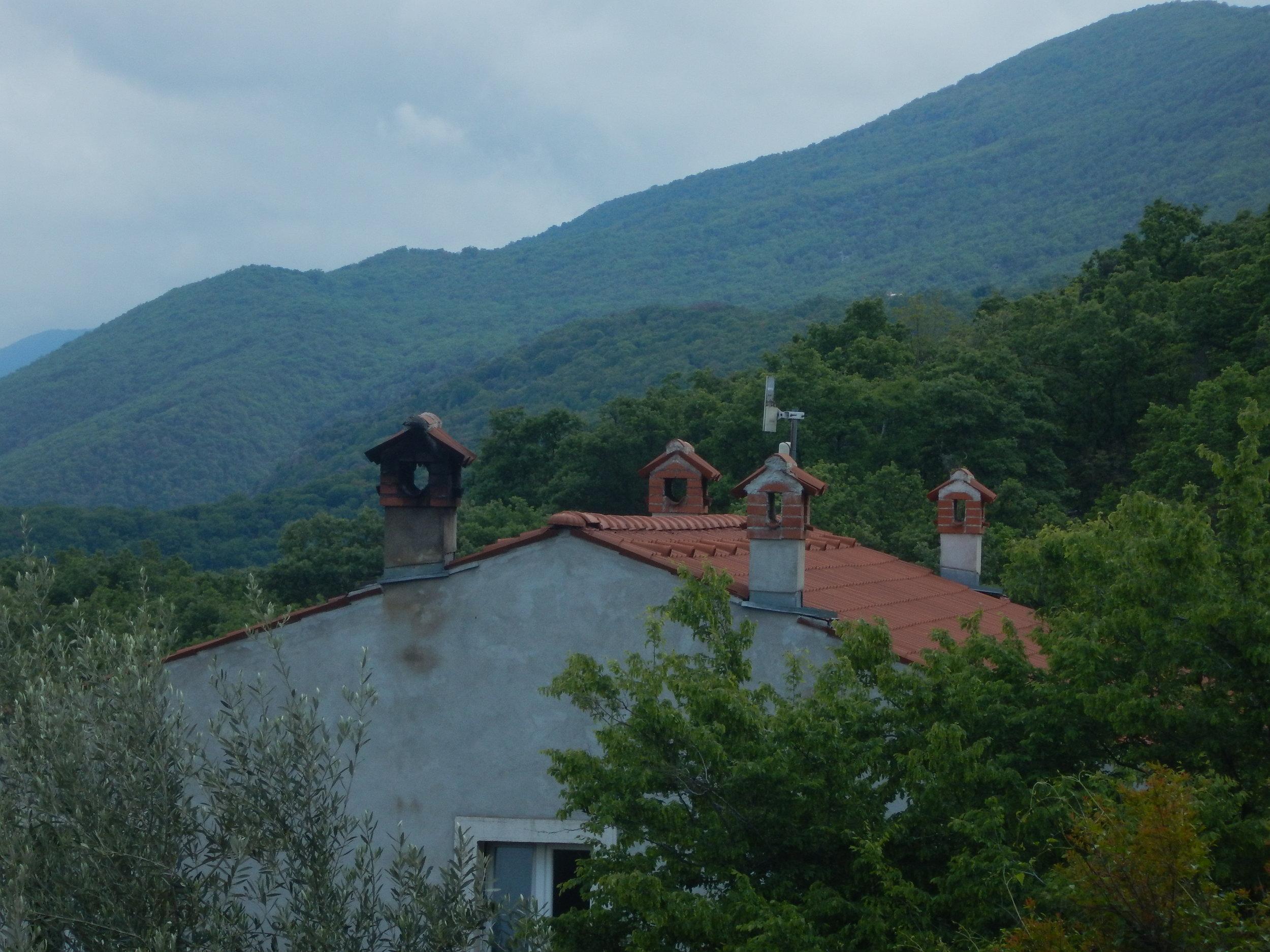 More traditional chimney tops. Sveti Petar, Cres Island.