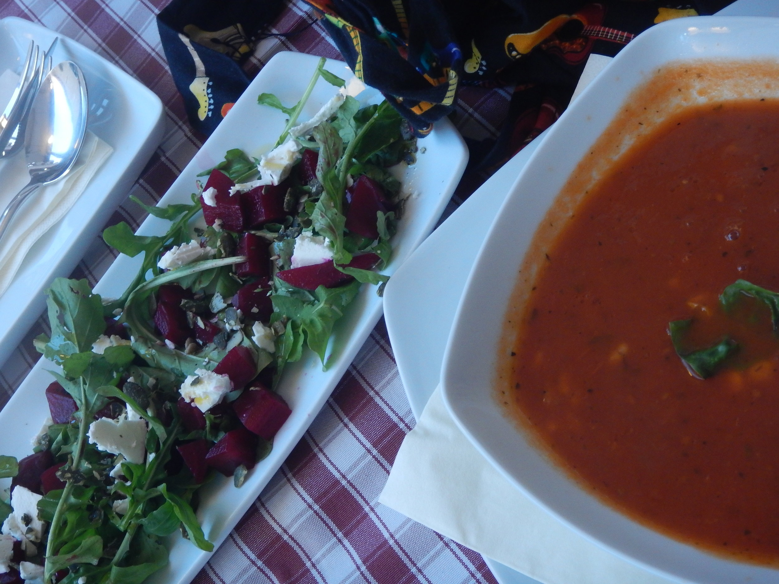 tomato soup with rice and corn, with beetroot and feta salad.