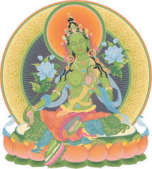 """Prayers are made once a month to Buddha Tara, a female Buddha, whose name means """"Rescuer. She is the embodiment of swift compassion."""