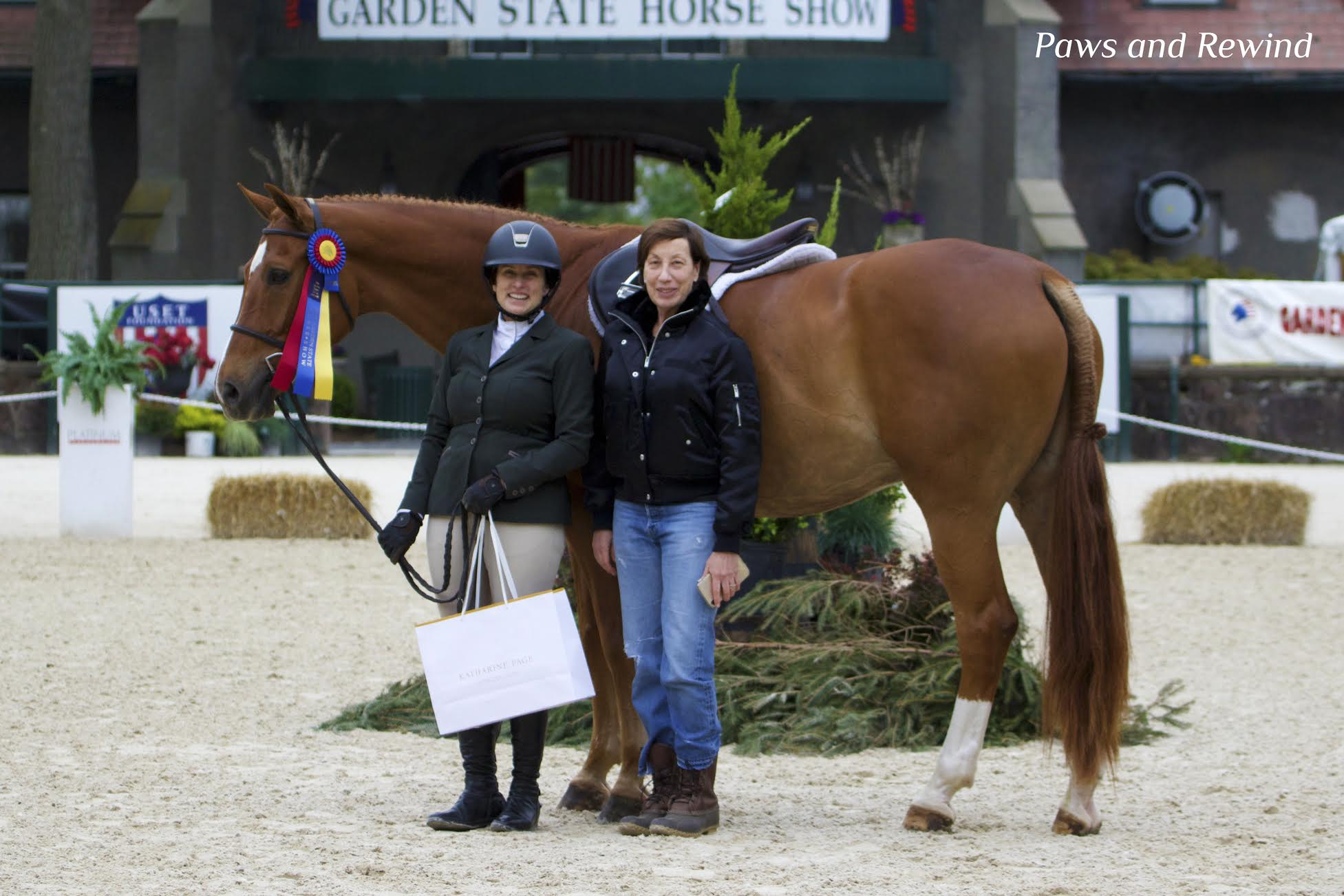 Adult Amateur Hunter Champion Karen Arrigoni and Katharine Page. Photo by Paws and Rewind