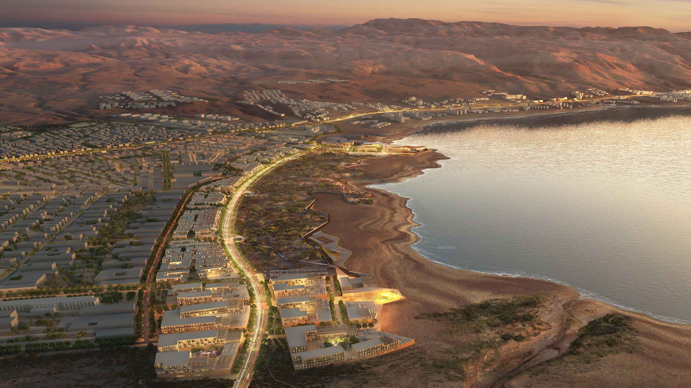 Dead Sea Corniche District, Sweimeh, Jordan. Rendering courtesy Sasaki Associates.