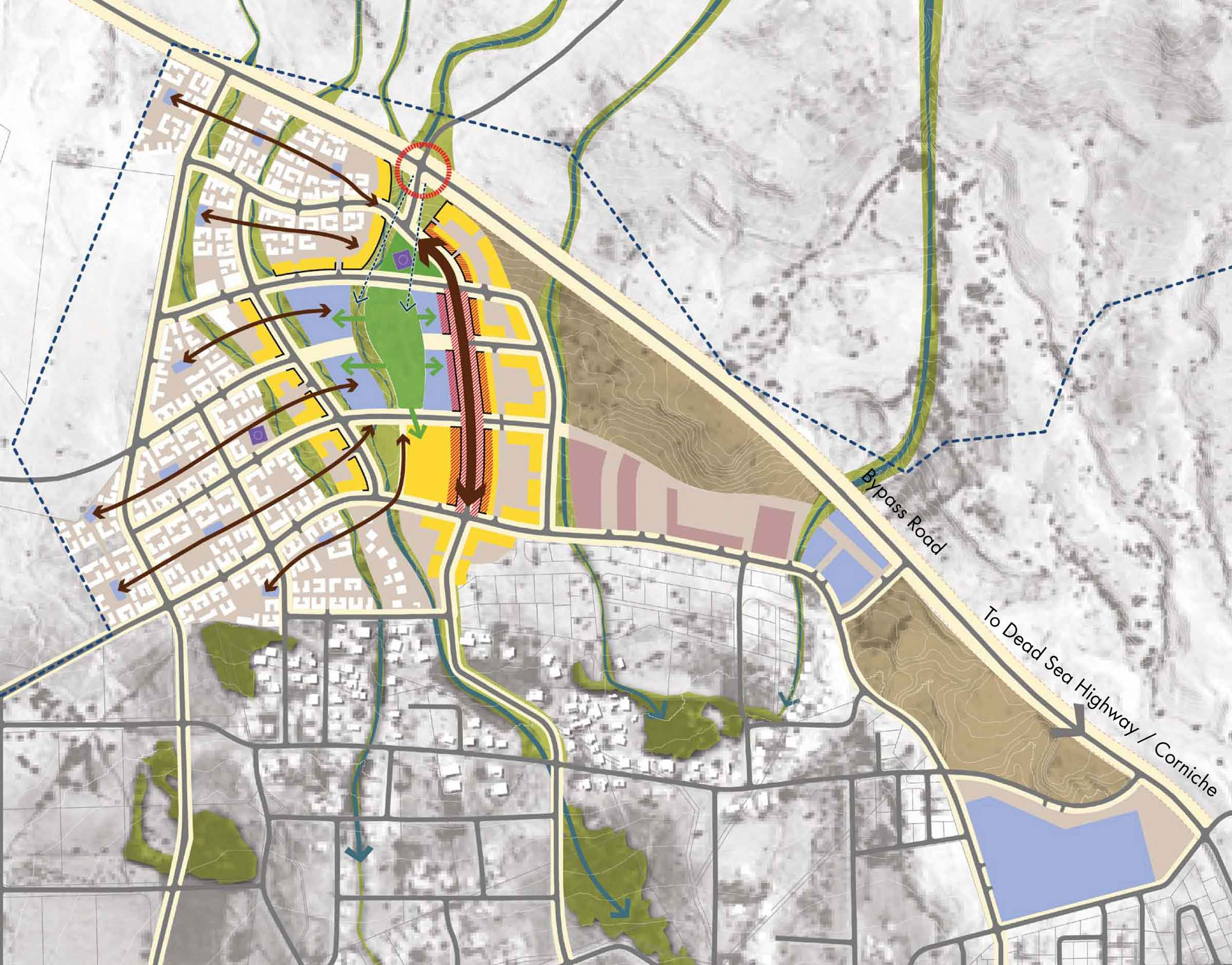 Detail from Sweimeh Urban District concept plan. Image courtesy Sasaki Associates.