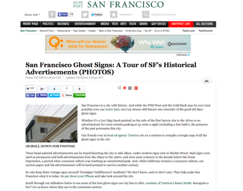 HuffPost San Francisco - San Francisco Ghost Signs: A Tour of SF's Historical Advertisements, 2012