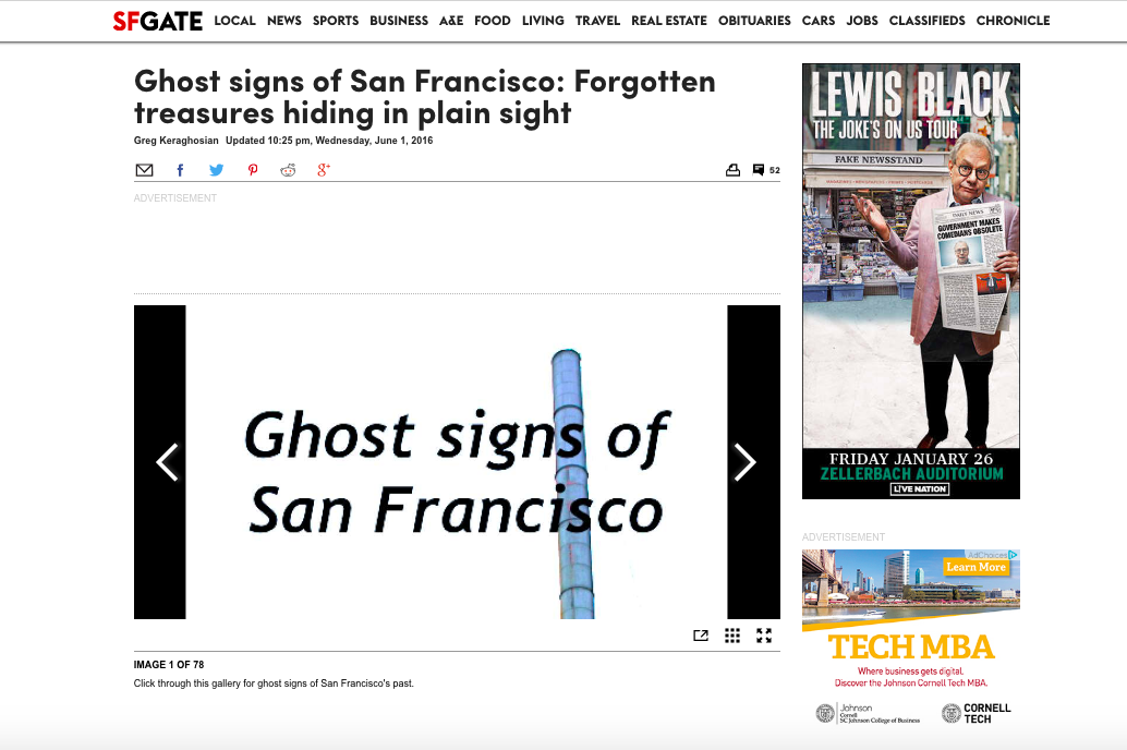 SFGate - Ghost signs of San Francisco: Forgotten treasures hiding in plain sight, 2016
