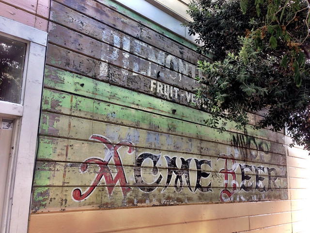 21st and York. Signs for Piedmonte Fruits Veggies and Acme Beer. Acme Brewery was a local brewery active from 1907-1954. Owned by the Olympia Brewing Company, they were located on Sansome near Telegraph Hill. During prohibition, the brewery made ice cream and soda. More info on the brand can be found here  http://www.brewerygems.com/acme.htm
