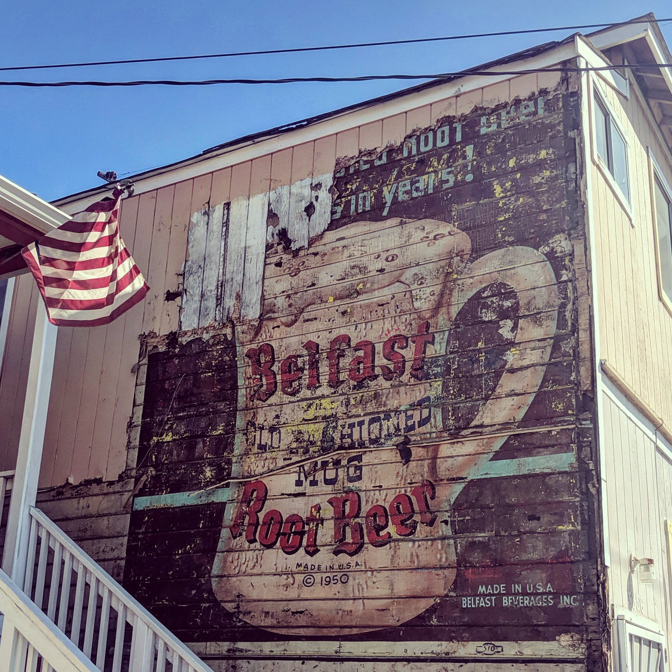 Us Map Made Out Of State Brewery Signs Belfast Old Fashioned Mug Root Beer Ghostsign in Fruitvale
